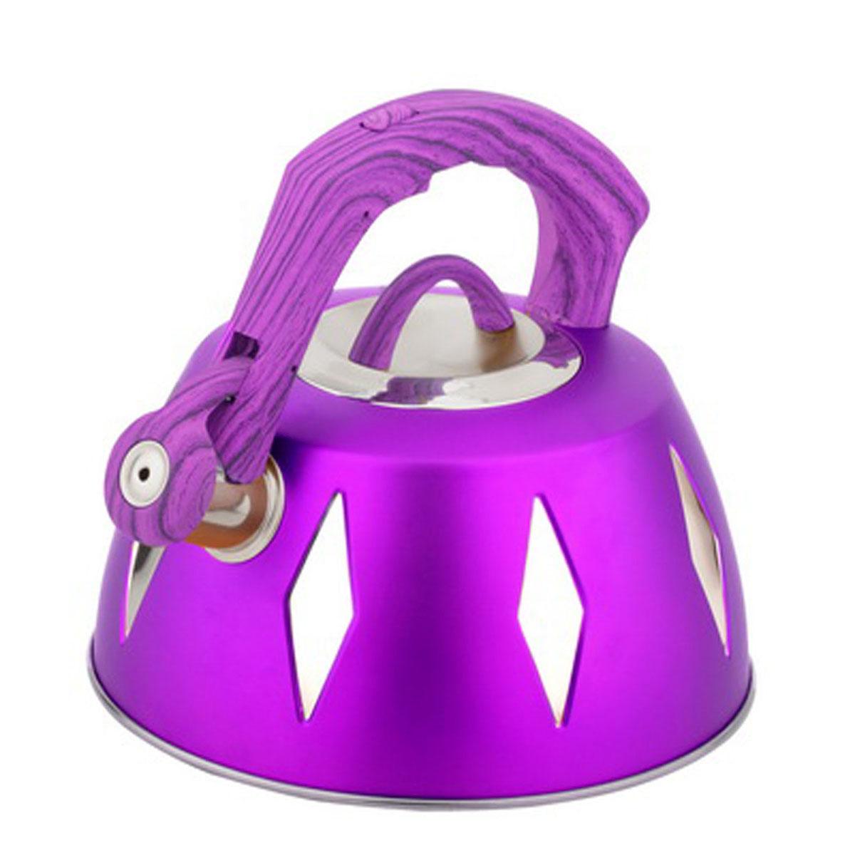Чайник Bohmann со свистком, 3,5 л, цвет: фиолетовый9968BHNEW_фиолетовыйЧайник Bohmann изготовлен из высококачественной нержавеющей стали с цветным матовым покрытием. Нержавеющая сталь - материал, из которого в течение нескольких десятилетий во всем мире производятся столовые приборы, кухонные инструменты и различные аксессуары. Этот материал обладает высокой стойкостью к коррозии и кислотам. Прочность, долговечность и надежность этого материала, а также первоклассная обработка обеспечивают практически неограниченный запас прочности и неизменно привлекательный внешний вид. Капсульное дно позволяет изделию быстро нагреваться и дольше сохранять тепло. Чайник оснащен фиксированной прорезиненной цветной ручкой, что предотвращает появление ожогов и обеспечивает безопасность использования. Носик чайника имеет откидной свисток, который подскажет, когда вода закипела. Можно использовать на газовых, электрических, галогенных, стеклокерамических, индукционных плитах. Можно мыть в посудомоечной машине. Высота чайника (без учета ручки и крышки):...