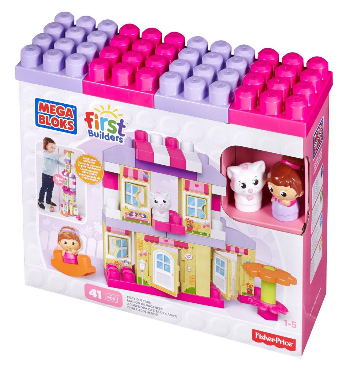 Mega Bloks First Builders Конструктор Уютный домикCNG26Теперь ваш маленький архитектор может в любой момент построить себе забавный загородный коттедж с помощью игрового набора Уютный домик из серии Bloks First Builders! Блоки-панели станут стенами высокого дома, а благодаря детальной отделке с открывающимися дверями и окнами он будет выглядеть так, словно только что сошел с картинки! Используйте входящие в комплект блоки и особые детали, чтобы увеличить высоту постройки до 60 сантиметров! Дополнительные детали сделают его идеальным жильем для хозяйки и ее любимого котика (куклы входят в набор). Чтобы разнообразить декорации, поставьте рядом с домом сборный цветок, который послужит садовым зонтиком, и качели, которые станут отличной забавой для двух персонажей. Идеальная игрушка для детей от 1 до 5 лет.