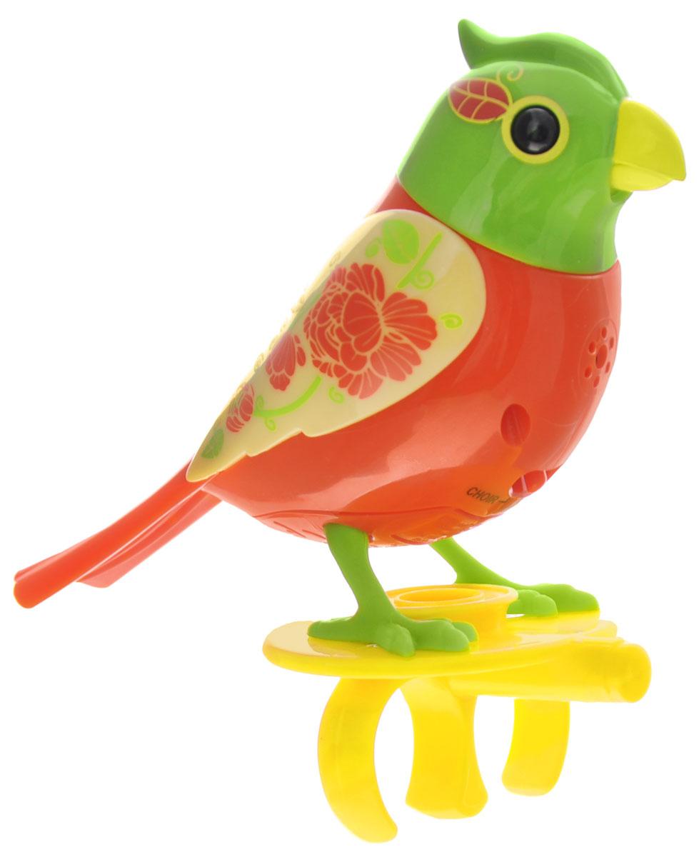 DigiBirds Интерактивная игрушка Птичка Pippa88286_оранжевый, зеленый, цветыИнтерактивная игрушка Птичка DigiBirds Pippa - это забавная интерактивная игрушка, которая займет малыша на длительное время. Птичка стоит на специальном свистке, который удобно держать на двух пальцах. Эта игрушка умеет выполнять разные действия: щебетать, петь песенки, при этом двигая головой и клювом. Если подуть на грудку птички, она начнет щебетать. Если подуть в свисток, птичка станет исполнять известную песенку. Игрушка воспроизводит свыше 55 музыкальных свистов. 2 режима работы игрушки: соло и хор. При переключении в режим хора можно последовательно подсоединять птичек к главной, в результате они будут вместе исполнять песенки вслед за главной птичкой и щебетать друг с другом. Игрушка развивает музыкальный слух, любовь к музыке и животным. Для работы игрушки необходимы 3 батарейки напряжением 1,5V типа AG13/LR44 (товар комплектуется демонстрационными).