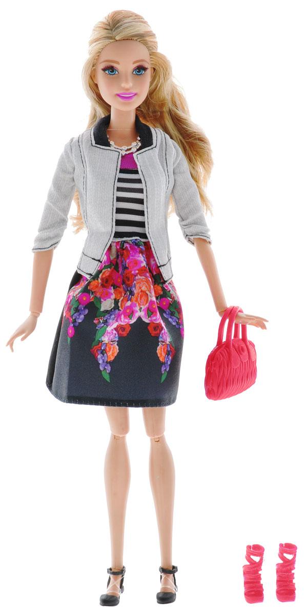 Barbie Кукла Fashionistas Делюкс цвет одежды серый черныйBLR55_DHD85Великолепная кукла Barbie Fashionistas Делюкс порадует вашу малышку и доставит ей много удовольствия от часов, посвященных игре с ней. Барби готова сразить всех наповал своей ослепительной красотой! Кукла с длинными светлыми волосами одета в пышную темную юбку с яркими цветами и стильный серый пиджачок, на ножках - изящные черные сандалии. Яркий образ Барби дополняют серебристое колье и красная дамская сумочка. В наборе дополнительно имеются красные босоножки на высоких каблуках. Порадуйте свою малышку таким великолепным подарком!