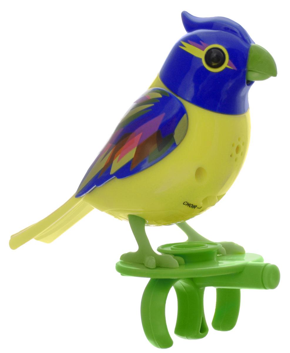 DigiBirds Интерактивная игрушка Птичка Brazil88286_желтый, синийИнтерактивная игрушка Птичка DigiBirds Brazil - это забавная интерактивная игрушка, которая займет малыша на длительное время. Птичка стоит на специальном свистке, который удобно держать на двух пальцах. Эта игрушка умеет выполнять разные действия: щебетать, петь песенки, при этом двигая головой и клювом. Если подуть на грудку птички, она начнет щебетать. Если подуть в свисток, птичка станет исполнять известную песенку. Игрушка воспроизводит свыше 55 музыкальных свистов. 2 режима работы игрушки: соло и хор. При переключении в режим хора можно последовательно подсоединять птичек к главной, в результате они будут вместе исполнять песенки вслед за главной птичкой и щебетать друг с другом. Игрушка развивает музыкальный слух, любовь к музыке и животным. Для работы игрушки необходимы 3 батарейки напряжением 1,5V типа AG13/LR44 (товар комплектуется демонстрационными).