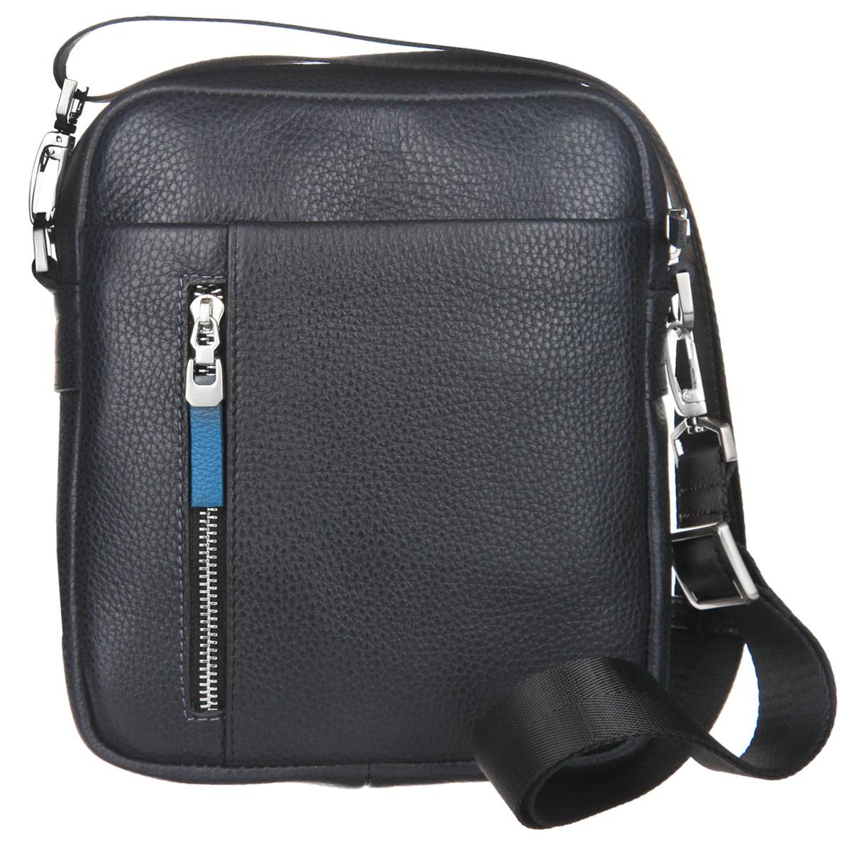 Сумка мужская Bruttus, цвет: темно-серый, синий. 941941Стильная мужская сумка Bruttus изготовлена из натуральной кожи с фактурным тиснением. Модель имеет одно основное отделение, которое закрывается на застежку-молнию. Внутри имеется два открытых кармашка для телефона и мелочей и прорезной карман на застежке-молнии. Снаружи на передней стенке располагается пришивной открытый карман с прорезным отделением на застежке-молнии. На задней стенке расположен прорезной карман на застежке-молнии. Изделие оснащено съемным текстильным плечевым ремнем, который регулируется по длине. Сумка упакована в фирменный чехол. Сумка Bruttus поможет вам подчеркнуть чувство стиля и завершить выбранный образ.
