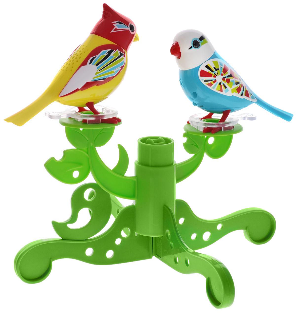 DigiBirds Интерактивный игровой набор Птички на дереве88237SИнтерактивный игровой набор DigiBirds Птички на дереве включает в себя две интерактивные птички, дерево и свисток. Каждая птичка умеет выполнять разные действия: щебетать, петь песенки, при этом двигая головой и клювом. Если подуть на грудку птички, она начнет щебетать. Если подуть в свисток, птичка станет исполнять известную песенку. Игрушка воспроизводит свыше 55 музыкальных свистов. 2 режима работы игрушки: соло и хор. При переключении в режим хора можно последовательно подсоединять птичек к главной, в результате они будут вместе исполнять песенки вслед за главной птичкой и щебетать друг с другом. В комплекте с птичками идет дерево с местами крепления для птичек, которое можно перестраивать по своему вкусу, а также свисток. Игрушка развивает музыкальный слух, любовь к музыке и животным. Для работы игрушки необходимы 6 батареек (по 3 на каждую птичку) напряжением 1,5V типа AG13/LR44 (товар комплектуется демонстрационными).