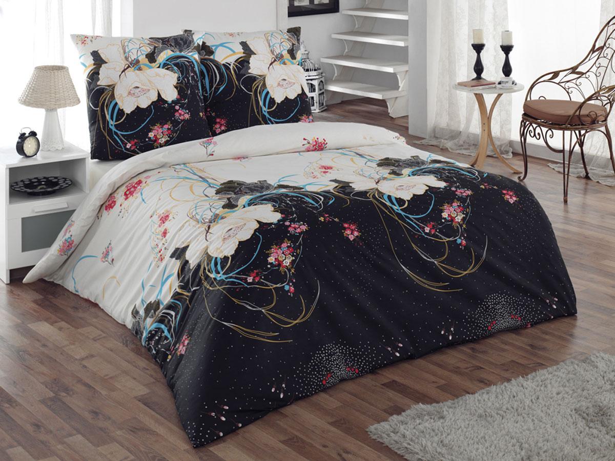 Комплект белья Tete-a-tete Classic Интрига, 1,5-спальный, наволочки 70х70, цвет: черный, белый, голубой