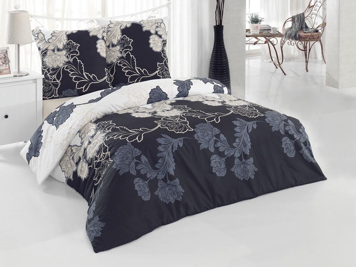 Комплект белья Tete-a-tete Classic Маркиза, 1,5-спальный, наволочки 70х70, цвет: белый, бежевый, черный