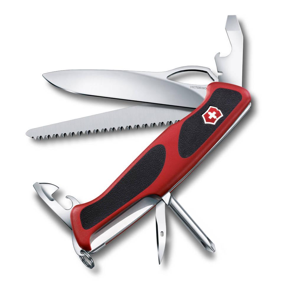 Нож перочинный Victorinox RangerGrip 78 0.9663.MC, цвет: красный, черный0.9663.MCПерочинный нож RANGERGRIP 78 имеет 12 функций: 1. Фиксирующееся лезвие с петлёй для открывания одной рукой 2. Консервный нож с: 3. – Малой отвёрткой 4. Открывалка для бутылок с: 5. – Фиксирующейся отвёрткой 6. – Инструментом для снятия изоляции 7. Пила по дереву 8. Шило, кернер 9. Крестовая отвёртка 10. Кольцо для ключей 11. Пинцет 12. Зубочистка Цвет рукояти: красный/чёрный