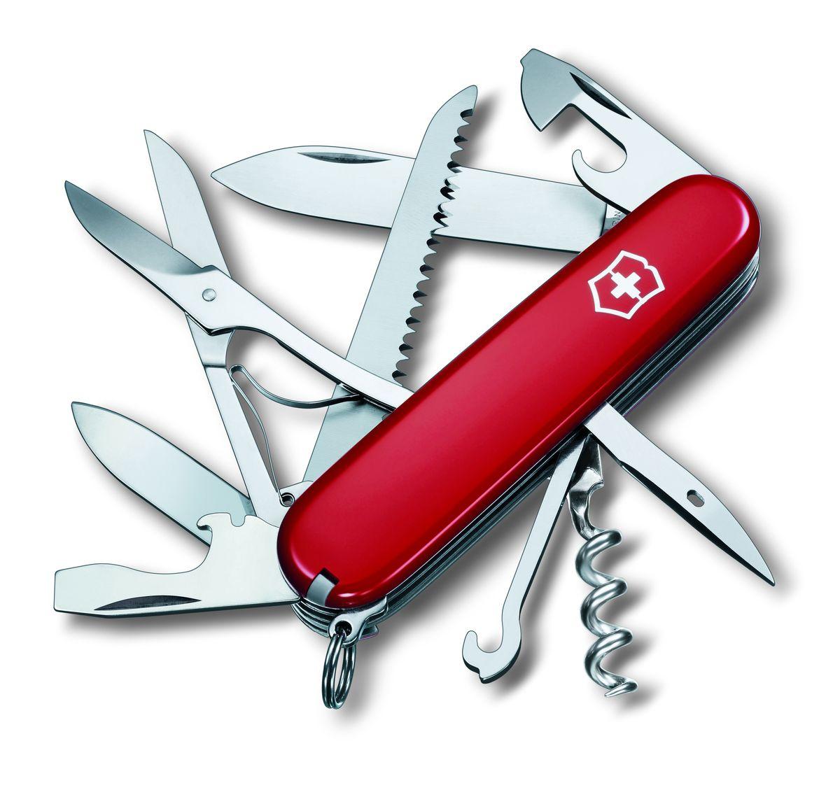 Нож перочинный Victorinox Huntsman 1.37131.3713Швейцарский армейский нож HUNTSMAN имеет 15 функций: 1. Большое лезвие 2. Малое лезвие 3. Штопор 4. Консервный нож с: 5. – Малой отвёрткой 6. Открывалка для бутылок с: 7. – Отвёрткой 8. – Инструментом для снятия изоляции 9. Шило, кернер 10. Кольцо для ключей 11. Пинцет 12. Зубочистка 13. Ножницы 14. Многофункциональный крючок 15. Пила по дереву Цвет рукояти: красный