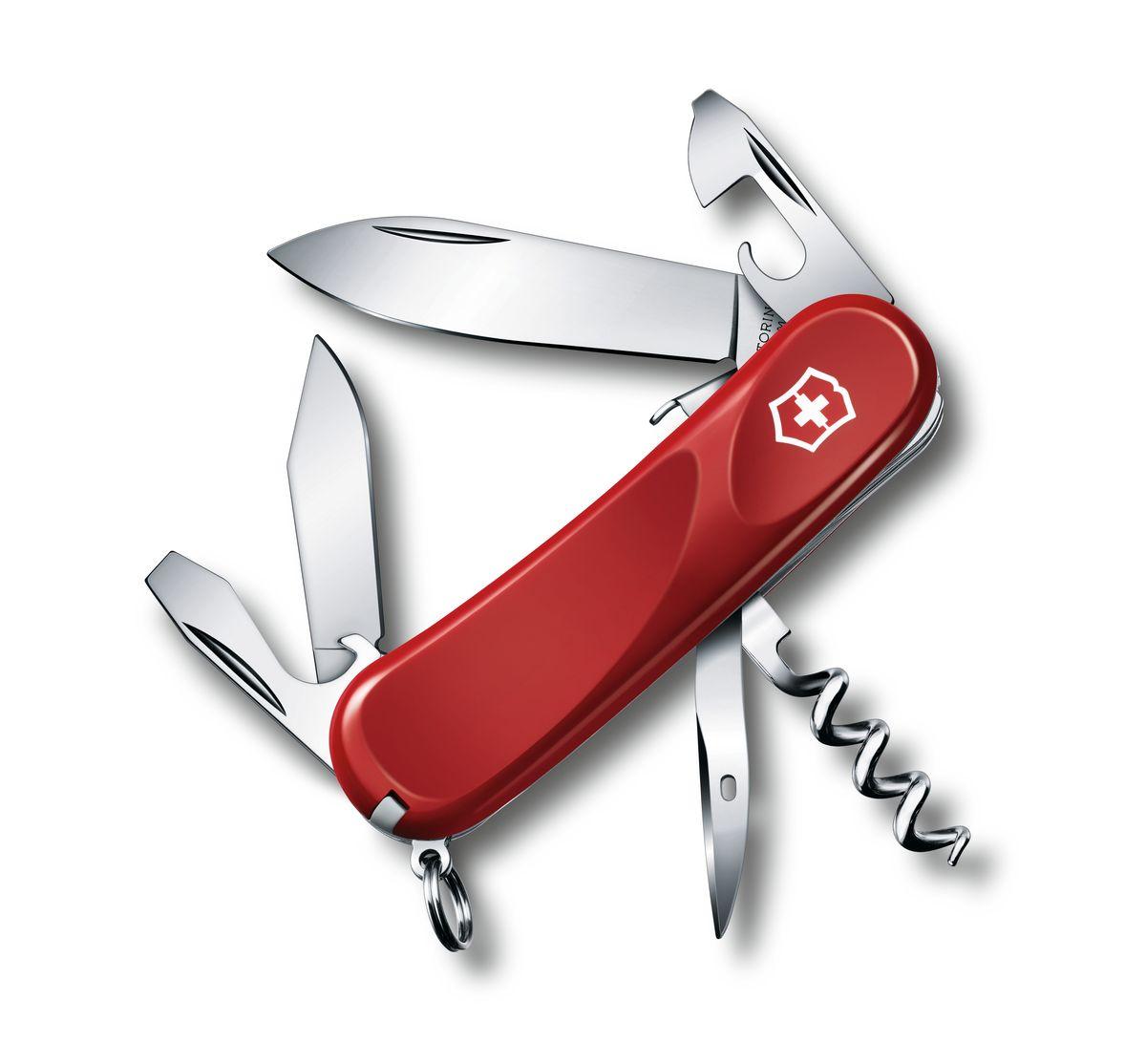 Нож перочинный Victorinox Evolution S101 2.3603.SE, цвет: красный2.3603.SEПерочинный нож EVOLUTION S101 имеет 12 функций: 1. Фиксирующееся лезвие 2. Малое лезвие 3. Консервный нож с: 4. – Малой отвёрткой 5. Открывалка для бутылок с: 6. – Фиксирующейся отвёрткой 7. – Инструментом для снятия изоляции 8. Штопор 9. Шило, кернер 10. Кольцо для ключей 11. Пинцет 12. Зубочистка Цвет рукояти: красный