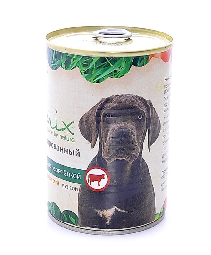 Organix Консервы для собак говядина с перепелкой, 410 г19666Мясные консервы для взрослых собак с говядиной и перепелкой Вкусный консервированный корм для собак. Изготовлен из 100% свежего мяса различного вида. Не содержит искусственных красителей, ароматизаторов или консервантов, ГМО. Специальная обработка помогает сохранять корм длительное время. Приготовлены из тщательно отобранных сортов мяса, которые внесут приятное разнообразие в меню вашей собаки. Корм разработан для обеспечения всех питательных потребностей взрослых собак. Состав: говядина, рубец, мясо перепелок, масло растительное, мука костная, стабилизатор Е472с, соль, вода. Пищевая ценность 100 г продукта: белок – не менее 7,0 г, жир – не более 10,0 г, энергетическая ценность (калорийность) – 118 ккал / 489 кДж.