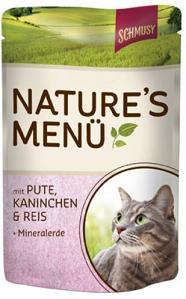 Консервы для кошек Шмуси индейка с кроликом70013Шмуси натура - это полноценная еда для кошек и котов с множеством натуральных ингредиентов. Корм Шмуси богат содержанием отборного мяса, потому что кошки - это настоящие хищники и нуждаются в пище, богатой белками. В этих пакетикахх маленькие кусочки мяса залиты деликатным соусом. Кроме отборного мяса в корм добавлена природная целебная глина, которая очень полезна для шерсти кошек. Также добавлен таурин для правильного развития организма кошек. Состав: Отборное мясо, индейка, лёгкие, кролик, печень, мясные субпродукты, рис, природная целебная глина, минеральные вещества. Условия хранения: комнатная температура в закрытом виде, после вскрытия до 2 дней в холодильнике. Особенности: Натуральные компоненты; Без сои, красителей, ароматизаторов, костной муки; Без консервантов