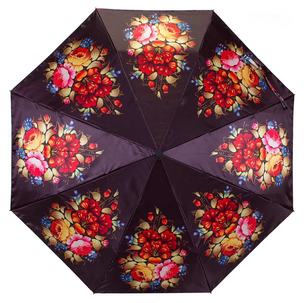 Зонт женский Zemsa Цветы, автомат, 3 сложения. 12-004 ZM12-004 ZMСтильный автоматический зонт Zemsa Цветы в 3 сложения станет великолепным аксессуаром и защитит свою хозяйку от непогоды, не теряя своих функциональных характеристик и визуальной привлекательности в течение всего срока эксплуатации. Каркас зонта, выполненный из стали, состоит из восьми спиц и оснащен удобной рукояткой. Зонт имеет полный автоматический механизм сложения: купол открывается и закрывается нажатием кнопки на рукоятке, стержень складывается вручную до характерного щелчка, благодаря чему открыть и закрыть зонт можно одной рукой, что чрезвычайно удобно при входе в транспорт или помещение. Купол зонта выполнен из сатина и оформлен изображением цветов. На рукоятке для удобства есть небольшой шнурок, позволяющий надеть зонт на руку тогда, когда это будет необходимо. К зонту прилагается чехол.