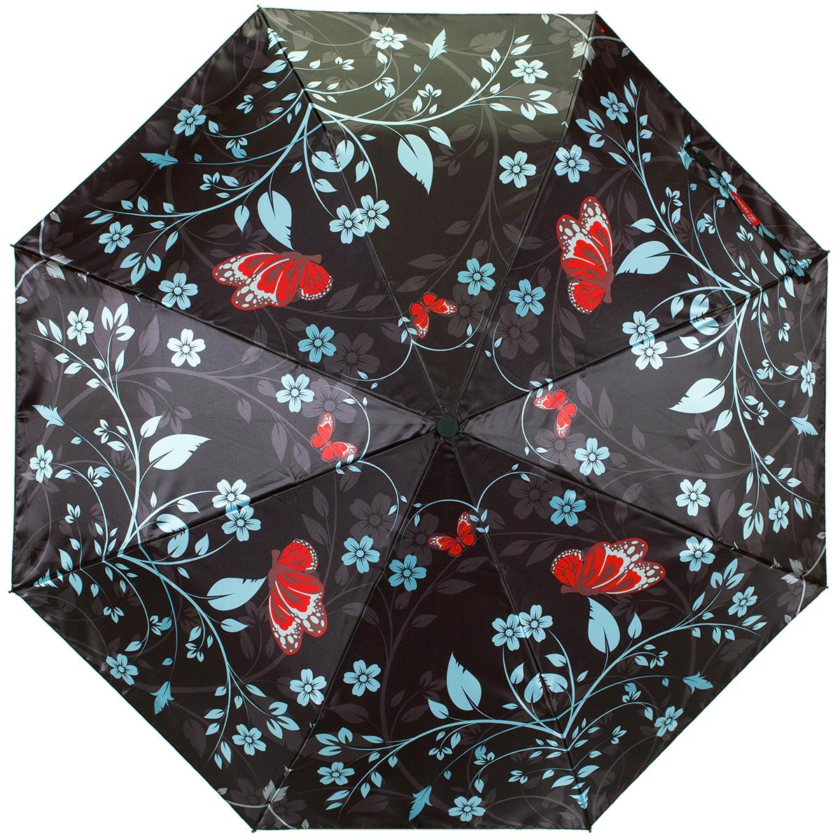 Зонт женский Zemsa Цветы и бабочки, автомат, 3 сложения. 12-006 ZM12-006 ZMСтильный автоматический зонт Zemsa Цветы и бабочки в 3 сложения станет великолепным аксессуаром и защитит свою хозяйку от непогоды, не теряя своих функциональных характеристик и визуальной привлекательности в течение всего срока эксплуатации. Каркас зонта, выполненный из стали, состоит из восьми спиц и оснащен удобной рукояткой. Зонт имеет полный автоматический механизм сложения: купол открывается и закрывается нажатием кнопки на рукоятке, стержень складывается вручную до характерного щелчка, благодаря чему открыть и закрыть зонт можно одной рукой, что чрезвычайно удобно при входе в транспорт или помещение. Купол зонта выполнен из сатина и оформлен изображением цветов и бабочек. На рукоятке для удобства есть небольшой шнурок, позволяющий надеть зонт на руку тогда, когда это будет необходимо. К зонту прилагается чехол.