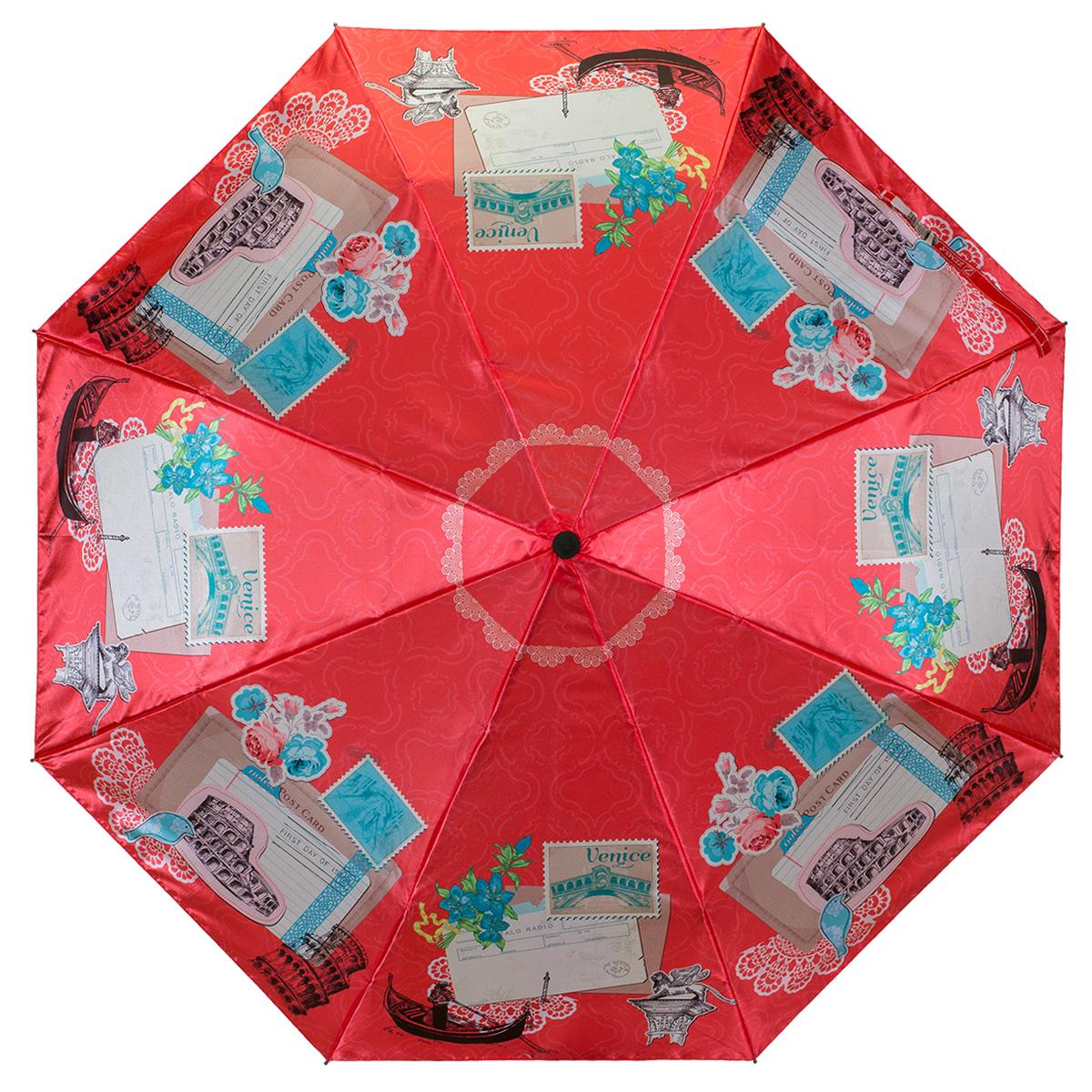 Зонт женский Zemsa Марки, автомат, 3 сложения. 12-007 ZM12-007 ZMСтильный автоматический зонт Zemsa Марки в 3 сложения станет великолепным аксессуаром и защитит свою хозяйку от непогоды, не теряя своих функциональных характеристик и визуальной привлекательности в течение всего срока эксплуатации. Каркас зонта, выполненный из стали, состоит из восьми спиц и оснащен удобной рукояткой. Зонт имеет полный автоматический механизм сложения: купол открывается и закрывается нажатием кнопки на рукоятке, стержень складывается вручную до характерного щелчка, благодаря чему открыть и закрыть зонт можно одной рукой, что чрезвычайно удобно при входе в транспорт или помещение. Купол зонта выполнен из сатина и оформлен изображением марок и надписями Venice. На рукоятке для удобства есть небольшой шнурок, позволяющий надеть зонт на руку тогда, когда это будет необходимо. К зонту прилагается чехол.