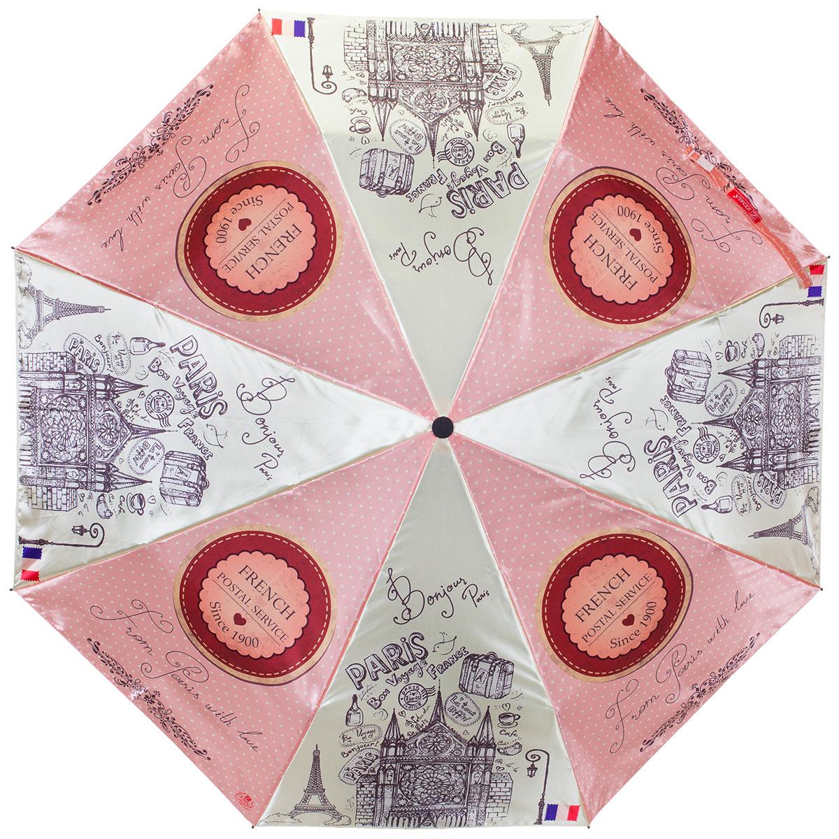 Зонт женский Zemsa Париж, автомат, 3 сложения. 12-011 ZM12-011 ZMСтильный автоматический зонт Zemsa Париж в 3 сложения станет великолепным аксессуаром и защитит свою хозяйку от непогоды, не теряя своих функциональных характеристик и визуальной привлекательности в течение всего срока эксплуатации. Каркас зонта, выполненный из стали, состоит из восьми спиц и оснащен удобной рукояткой. Зонт имеет полный автоматический механизм сложения: купол открывается и закрывается нажатием кнопки на рукоятке, стержень складывается вручную до характерного щелчка, благодаря чему открыть и закрыть зонт можно одной рукой, что чрезвычайно удобно при входе в транспорт или помещение. Купол зонта выполнен из сатина и оформлен французской тематикой. На рукоятке для удобства есть небольшой шнурок, позволяющий надеть зонт на руку тогда, когда это будет необходимо. К зонту прилагается чехол.