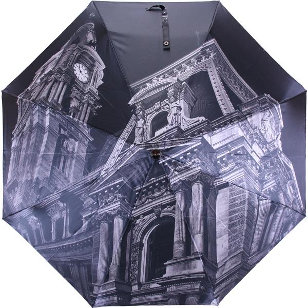 Зонт женский Flioraj Филадельфийская ратуша, автомат, 3 сложения, цвет: черный, серый. 013-2FJ013-2FJСтильный автоматический зонт Flioraj Собор в 3 сложения даже в ненастную погоду позволит вам оставаться стильной и элегантной. Каркас зонта из анодированной стали состоит из восьми карбоновых спиц, оснащен удобной прорезиненной рукояткой. Карбоновые спицы помогут выдержать натиск ураганного ветра. Зонт снабжен системой антиветер. Зонт имеет полный автоматический механизм сложения: купол открывается и закрывается нажатием кнопки на рукоятке, стержень складывается вручную до характерного щелчка, благодаря чему открыть и закрыть зонт можно одной рукой, что чрезвычайно удобно при входе в транспорт или помещение. Купол зонта выполнен из прочного полиэстера и оформлен оригинальным изображением ратуши города Филадельфии. Закрытый купол фиксируется хлястиком на кнопке. На рукоятке для удобства есть небольшой шнурок-петля, позволяющий надеть зонт на руку тогда, когда это будет необходимо. К зонту прилагается чехол.