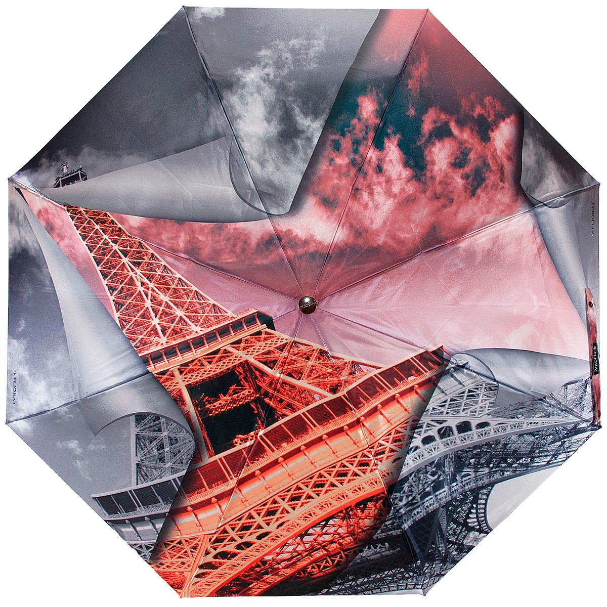 """Зонт женский Flioraj """"Эйфелева башня"""", автомат, 3 сложения, серый, красный"""