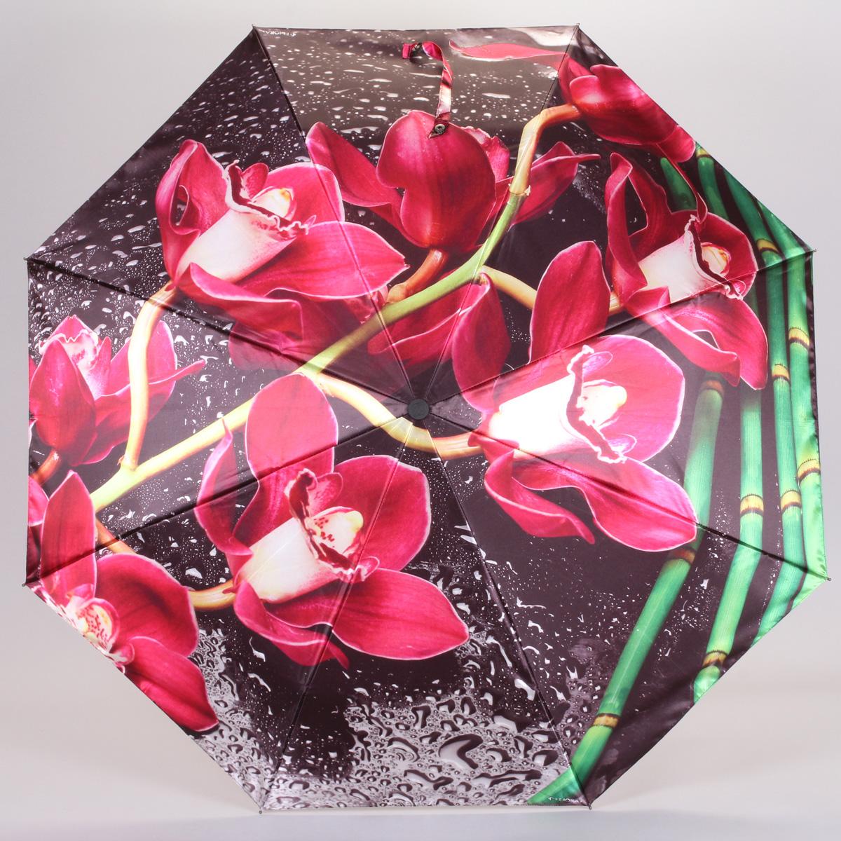 Зонт женский Flioraj Орхидея, автомат, 3 сложения. 013-033FJ013-033FJСтильный автоматический зонт Flioraj Орхидея в 3 сложения даже в ненастную погоду позволит вам оставаться стильной и элегантной. Каркас зонта из анодированной стали состоит из восьми карбоновых спиц, оснащен удобной прорезиненной рукояткой. Зонт имеет полный автоматический механизм сложения: купол открывается и закрывается нажатием кнопки на рукоятке, стержень складывается вручную до характерного щелчка, благодаря чему открыть и закрыть зонт можно одной рукой, что чрезвычайно удобно при входе в транспорт или помещение. Купол зонта выполнен из прочного сатина черного цвета и оформлен изображением бамбука и цветков орхидеи. На рукоятке для удобства есть небольшой шнурок-резинка, позволяющий надеть зонт на руку тогда, когда это будет необходимо. К зонту прилагается чехол.