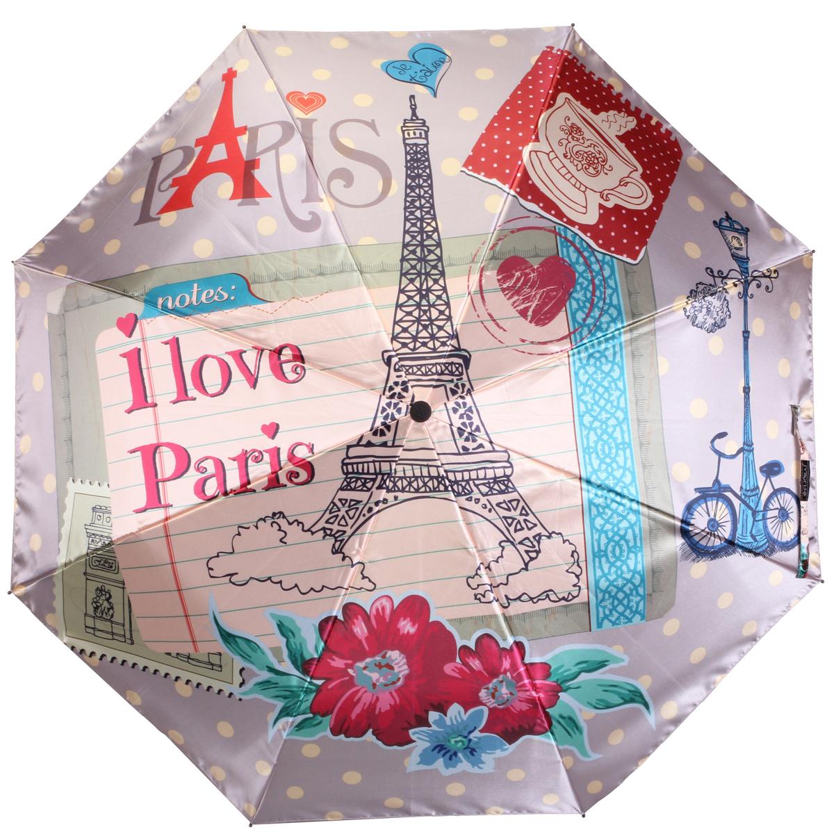 """Зонт женский Flioraj """"Париж"""", автомат, 3 сложения. 013-041FJ"""