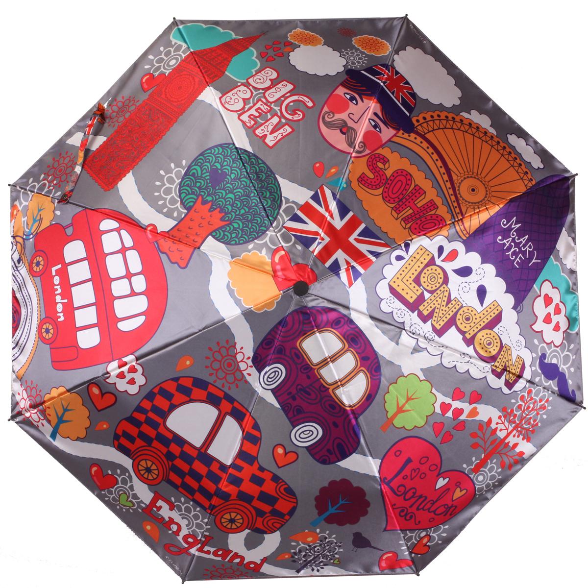 Зонт женский Flioraj Лондон, автомат, 3 сложения. 013-043FJ013-043FJСтильный автоматический зонт Flioraj Лондон в 3 сложения даже в ненастную погоду позволит вам оставаться стильной и элегантной. Каркас зонта из анодированной стали состоит из восьми карбоновых спиц, оснащен удобной прорезиненной рукояткой. Зонт имеет полный автоматический механизм сложения: купол открывается и закрывается нажатием кнопки на рукоятке, стержень складывается вручную до характерного щелчка, благодаря чему открыть и закрыть зонт можно одной рукой, что чрезвычайно удобно при входе в транспорт или помещение. Купол зонта выполнен из прочного сатина черного цвета и оформлен в английской тематике. На рукоятке для удобства есть небольшой шнурок-резинка, позволяющий надеть зонт на руку тогда, когда это будет необходимо. К зонту прилагается чехол.