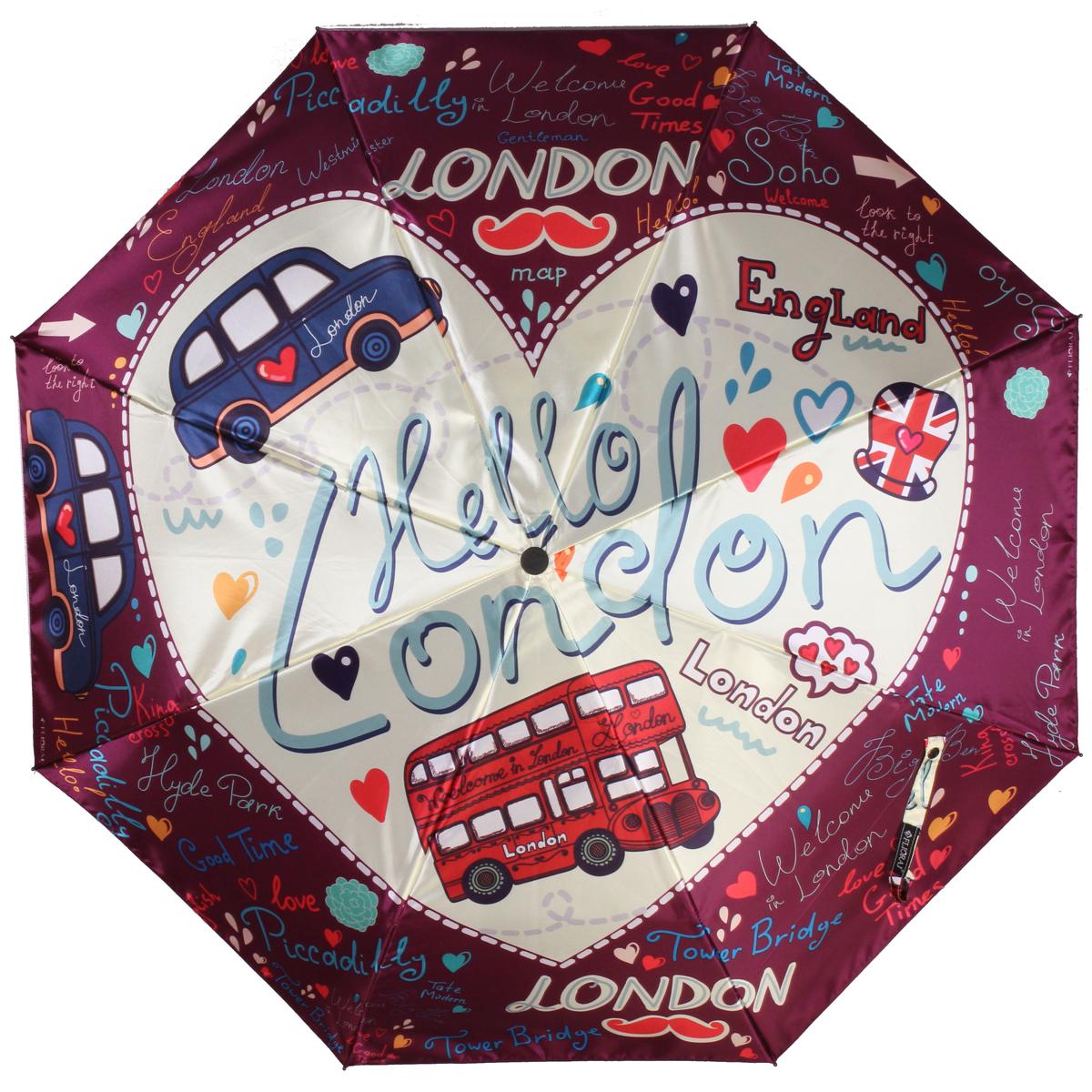 """Зонт женский Flioraj """"Лондон"""", автомат, 3 сложения. 013-044FJ"""