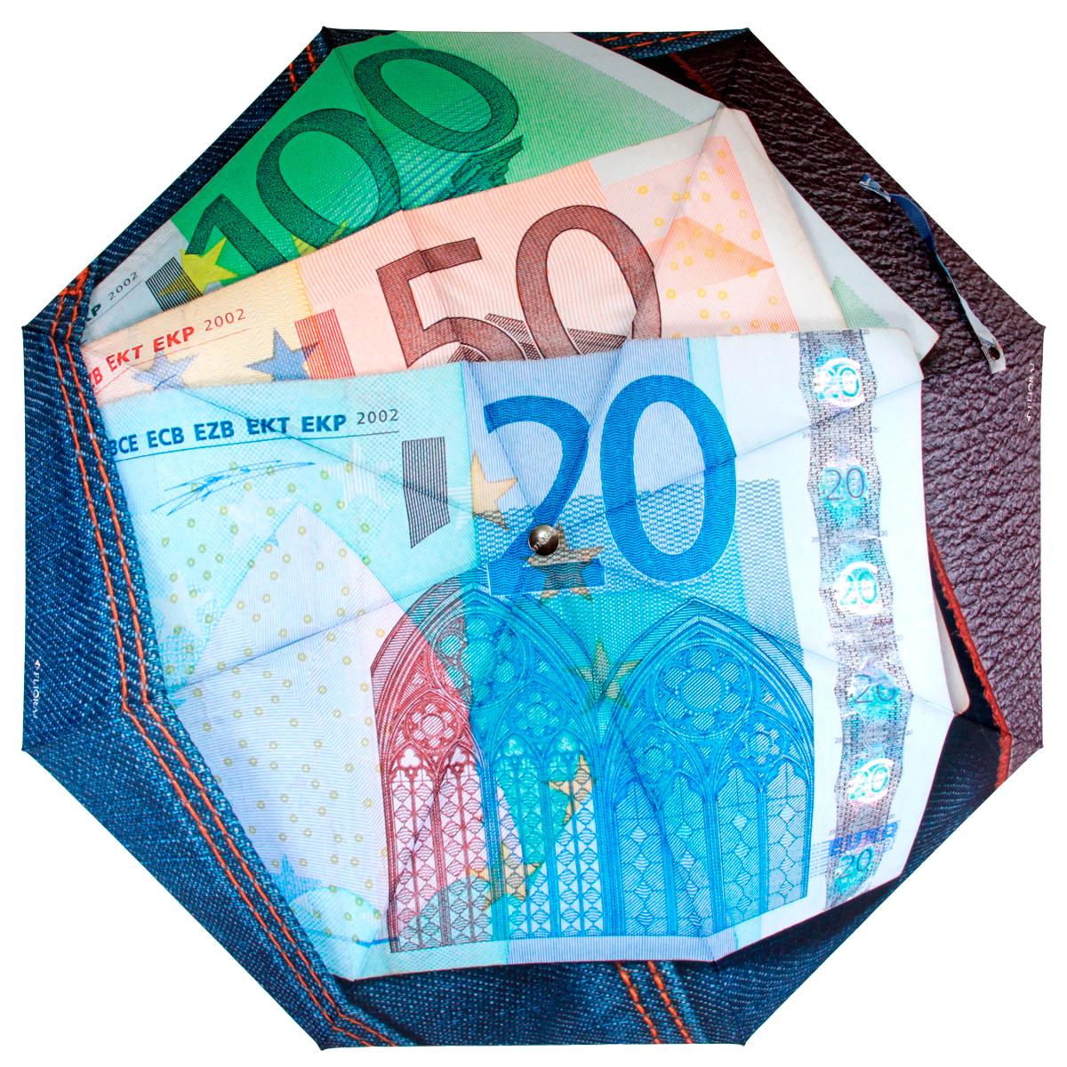 Зонт женский Flioraj Евро, автомат, 3 сложения, голубой, розовый, зеленый014-30 FJСтильный автоматический зонт Flioraj Евро в 3 сложения даже в ненастную погоду позволит вам оставаться стильной и элегантной. Каркас зонта из анодированной стали состоит из восьми карбоновых спиц, оснащен удобной прорезиненной рукояткой. Карбоновые спицы помогут выдержать натиск ураганного ветра. Зонт снабжен системой антиветер. Зонт имеет полный автоматический механизм сложения: купол открывается и закрывается нажатием кнопки на рукоятке, стержень складывается вручную до характерного щелчка, благодаря чему открыть и закрыть зонт можно одной рукой, что чрезвычайно удобно при входе в транспорт или помещение. Купол зонта выполнен из прочного полиэстера и оформлен оригинальным изображением банкнот евро. Закрытый купол фиксируется хлястиком на кнопке. На рукоятке для удобства есть небольшая эластичная петля, позволяющая надеть зонт на руку тогда, когда это будет необходимо. К зонту прилагается чехол.