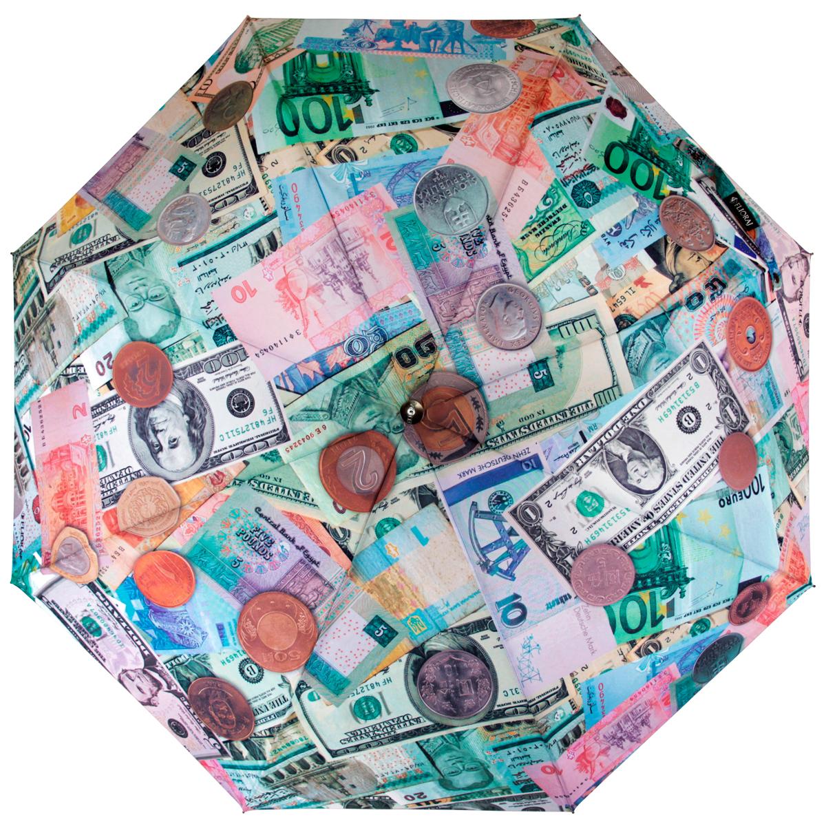 Зонт Flioraj Купюры и монеты, автомат, 3 сложения, зеленый014-42 FJСтильный автоматический зонт Flioraj Купюры и монеты в 3 сложения даже в ненастную погоду позволит вам оставаться стильной и элегантной. Каркас зонта из анодированной стали состоит из восьми карбоновых спиц, оснащен удобной прорезиненной рукояткой. Карбоновые спицы помогут выдержать натиск ураганного ветра. Зонт снабжен системой антиветер. Зонт имеет полный автоматический механизм сложения: купол открывается и закрывается нажатием кнопки на рукоятке, стержень складывается вручную до характерного щелчка, благодаря чему открыть и закрыть зонт можно одной рукой, что чрезвычайно удобно при входе в транспорт или помещение. Купол зонта выполнен из прочного полиэстера и оформлен оригинальным изображением различных купюр и монет. Закрытый купол фиксируется хлястиком ев кнопке. На рукоятке для удобства есть небольшая эластичная петля, позволяющая надеть зонт на руку тогда, когда это будет необходимо. К зонту прилагается чехол.
