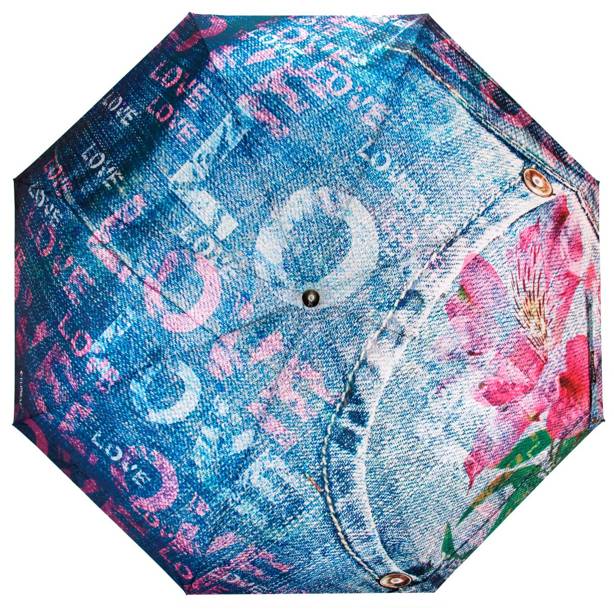 Зонт женский Flioraj Розовый цветок, автомат, 3 сложения, розовый, синий. 014-43 FJ014-43 FJСтильный автоматический зонт Flioraj Розовый цветок в 3 сложения даже в ненастную погоду позволит вам оставаться стильной и элегантной. Каркас зонта из анодированной стали состоит из восьми карбоновых спиц, оснащен удобной прорезиненной рукояткой. Карбоновые спицы помогут выдержать натиск ураганного ветра. Зонт снабжен системой антиветер. Зонт имеет полный автоматический механизм сложения: купол открывается и закрывается нажатием кнопки на рукоятке, стержень складывается вручную до характерного щелчка, благодаря чему открыть и закрыть зонт можно одной рукой, что чрезвычайно удобно при входе в транспорт или помещение. Купол зонта выполнен из прочного полиэстера и оформлен оригинальным изображением цветка на фоне джинсовой ткани. Закрытый купол фиксируется хлястиком на кнопке. На рукоятке для удобства есть небольшая эластичная петля, позволяющая надеть зонт на руку тогда, когда это будет необходимо. К зонту прилагается чехол.