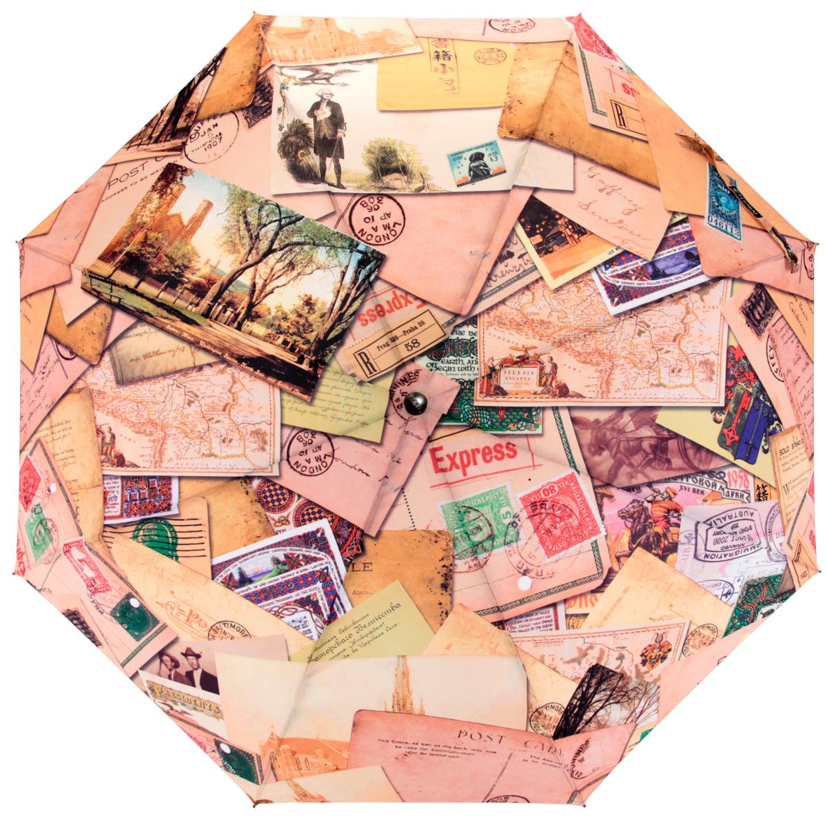 Зонт женский Flioraj Почтовые конверты, автомат, 3 сложения, бежевый, желтый014-47 FJСтильный автоматический зонт Flioraj Почтовые конверты в 3 сложения даже в ненастную погоду позволит вам оставаться стильной и элегантной. Каркас зонта из анодированной стали состоит из восьми карбоновых спиц, оснащен удобной прорезиненной рукояткой. Карбоновые спицы помогут выдержать натиск ураганного ветра. Зонт снабжен системой антиветер. Зонт имеет полный автоматический механизм сложения: купол открывается и закрывается нажатием кнопки на рукоятке, стержень складывается вручную до характерного щелчка, благодаря чему открыть и закрыть зонт можно одной рукой, что чрезвычайно удобно при входе в транспорт или помещение. Купол зонта выполнен из прочного полиэстера и оформлен изображением почтовых конвертов и открыток. Закрытый купол фиксируется хлястиком на кнопке. На рукоятке для удобства есть небольшая эластичная петля, позволяющая надеть зонт на руку тогда, когда это будет необходимо. К зонту прилагается чехол.