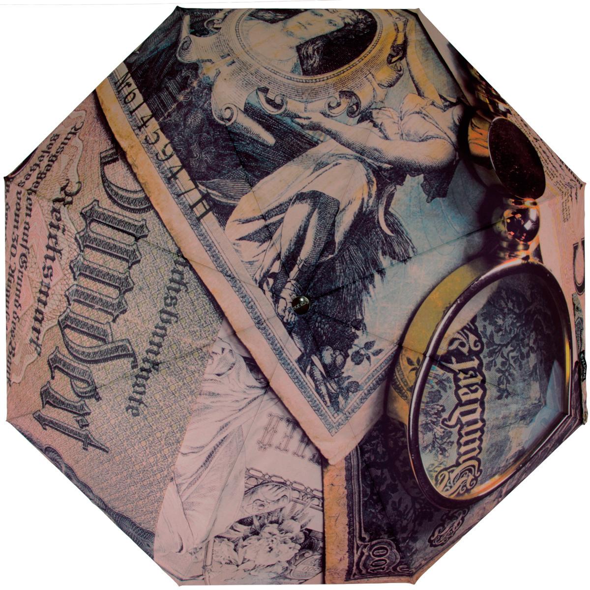 Зонт женский Flioraj Банкноты, механический, 5 сложений, коричневый, зеленый016-001 FJСтильный механический зонт Flioraj Банкноты в 5 сложений даже в ненастную погоду позволит вам оставаться стильной и элегантной. Каркас зонта из хромированной стали состоит из восьми спиц и оснащен удобной прорезиненной рукояткой. Ветростойкий каркас возвращается к нормальному положению из вывернутого ветром наизнанку зонта. Для этого нужно закрыть зонт и вновь его открыть. Зонт имеет механический тип сложения: купол открывается и закрывается вручную, стержень также складывается вручную до характерного щелчка. Купол зонта выполнен из прочного полиэстера и оформлен изображением в стиле ретро. Закрытый купол фиксируется хлястиком на кнопке. На рукоятке для удобства есть небольшая эластичная петля, позволяющая надеть зонт на руку тогда, когда это будет необходимо. К зонту прилагается чехол.