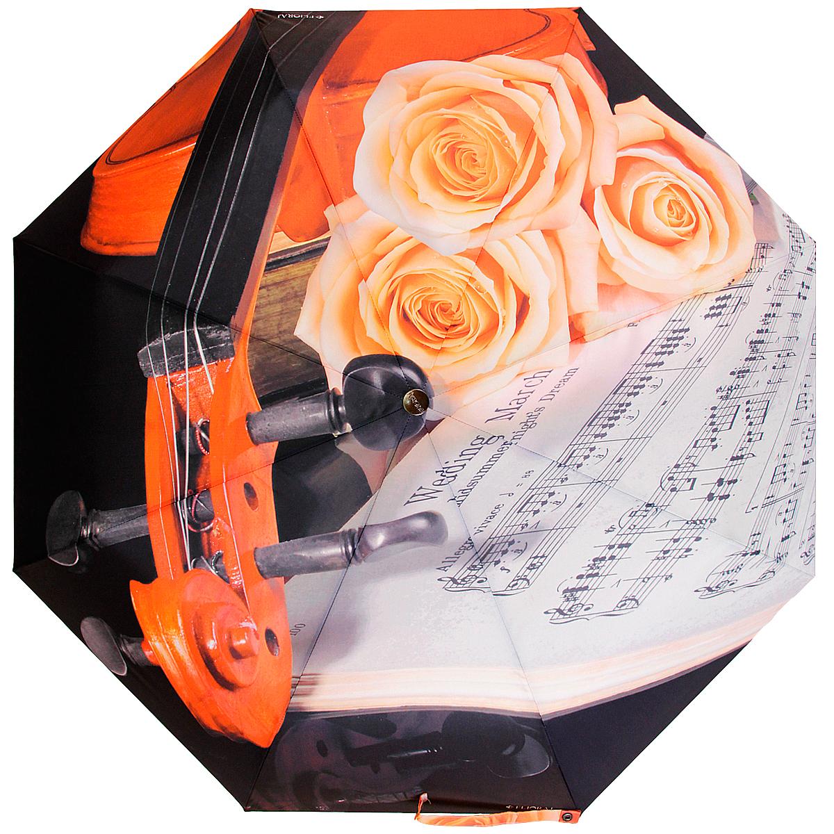 Зонт женский Flioraj Скрипка и ноты, механический, 5 сложений, оранжевый, черный, серый016-003 FJСтильный механический зонт Flioraj Скрипка и ноты в 5 сложений даже в ненастную погоду позволит вам оставаться стильной и элегантной. Каркас зонта из хромироавнной стали состоит из восьми спиц, оснащен удобной прорезиненной рукояткой. Ветростойкий каркас возвращается к нормальному положению из вывернутого ветром наизнанку зонта. Для этого нужно закрыть зонт и вновь его открыть. Зонт имеет механический тип сложения: купол открывается и закрывается вручную, стержень также складывается вручную до характерного щелчка. Купол зонта выполнен из прочного полиэстера и оформлен изображением скрипки, роз и нот. Закрытый купол фиксируется хлястиком на кнопке. На рукоятке для удобства есть небольшая эластичная петля, позволяющая надеть зонт на руку тогда, когда это будет необходимо. К зонту прилагается чехол.