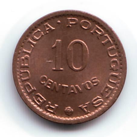 Монета номиналом 10 сентаво. Мозамбик, 1960 год