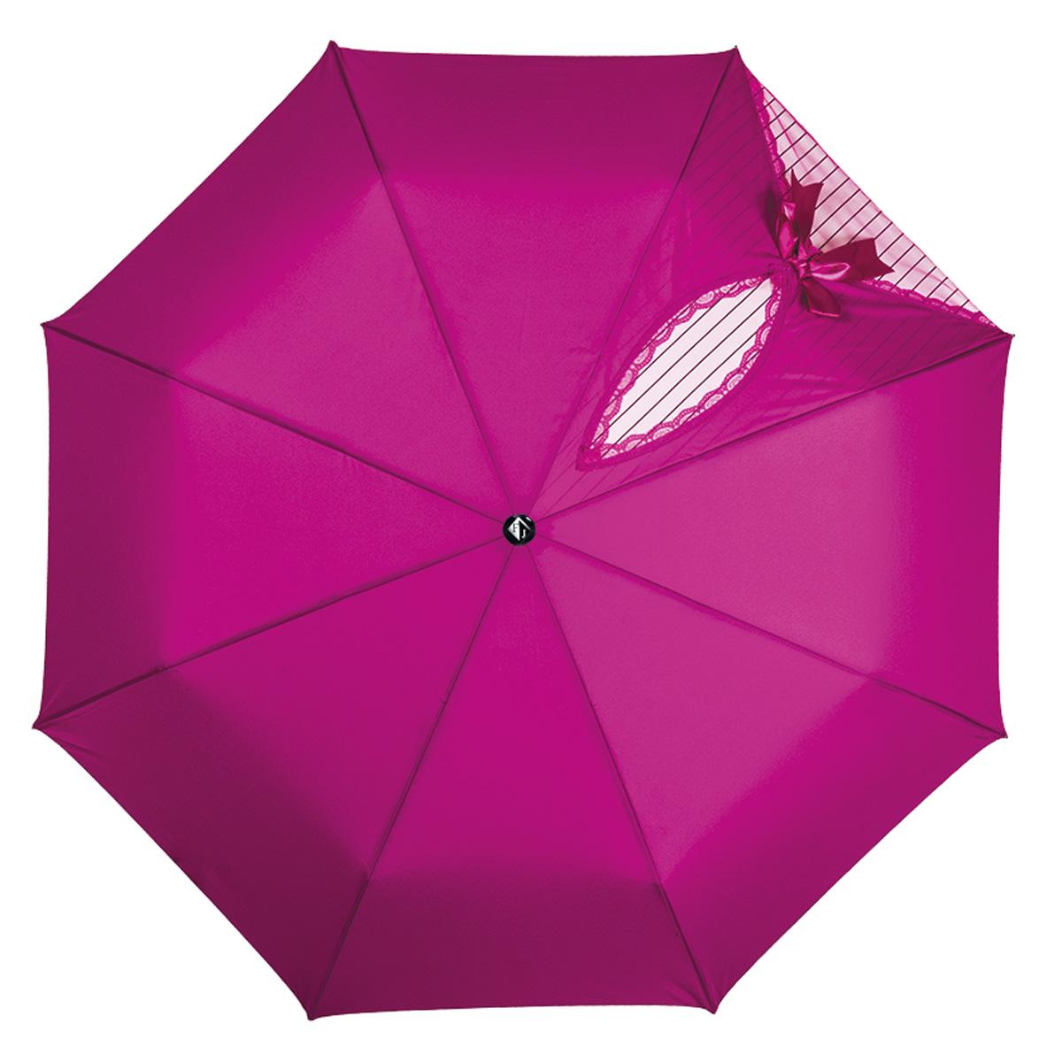 Зонт женский Flioraj Кокетка, автомат, 3 сложения, цвет: фуксия. 20002 FJ20002 FJОчаровательный автоматический зонт Flioraj Кокетка в 3 сложения отлично подойдет для ненастной погоды. Ветростойкий каркас зонта, изготовленный из анодированной стали, состоит из восьми спиц и прочного стержня. Купол зонта с тефлоновой пропиткой выполнен из полиэстера и оформлен узором в полоску, кружевной оторочкой и милым бантиком. Модель оснащена рукояткой из пластика. Зонт имеет полный автоматический механизм сложения: купол открывается и закрывается нажатием кнопки на рукоятке, стержень складывается вручную до характерного щелчка. Благодаря этому открыть и закрыть зонт можно одной рукой, что чрезвычайно удобно при входе в транспорт или помещение. Небольшой шнурок, расположенный на рукоятке, позволяет надеть изделие на руку при необходимости. Модель закрывается при помощи хлястика на кнопке. Такой зонт не только надежно защитит вас от дождя, но и станет стильным аксессуаром, который идеально подчеркнет ваш неповторимый образ.