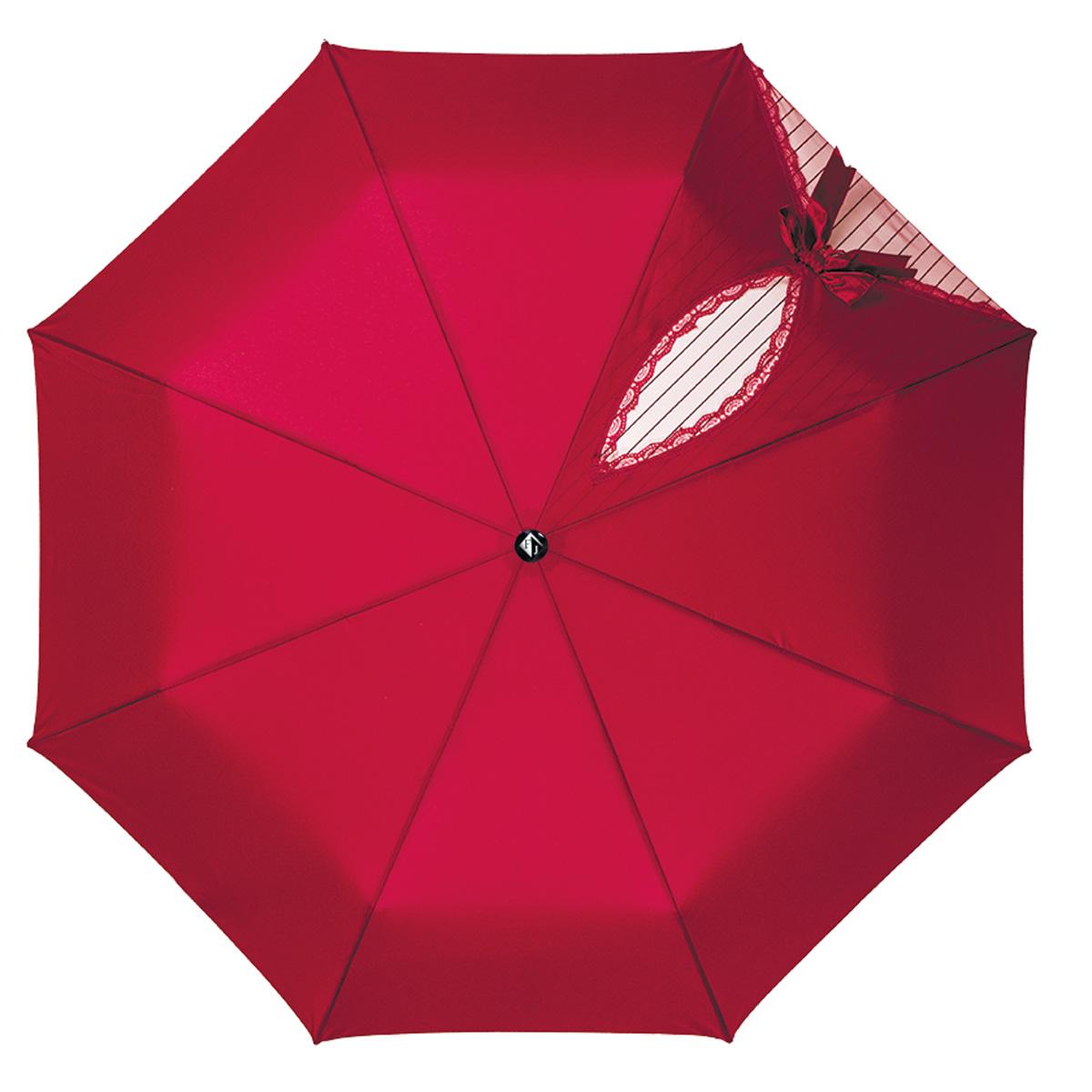 Зонт женский Flioraj Кокетка, автомат, 3 сложения, цвет: бордовый. 20003 FJ20003 FJОчаровательный автоматический зонт Flioraj Кокетка в 3 сложения отлично подойдет для ненастной погоды. Ветростойкий каркас зонта, изготовленный из анодированной стали, состоит из восьми спиц и прочного стержня. Купол зонта с тефлоновой пропиткой выполнен из полиэстера и оформлен узором в полоску, кружевной оторочкой и милым бантиком. Модель оснащена рукояткой из пластика. Зонт имеет полный автоматический механизм сложения: купол открывается и закрывается нажатием кнопки на рукоятке, стержень складывается вручную до характерного щелчка. Благодаря этому открыть и закрыть зонт можно одной рукой, что чрезвычайно удобно при входе в транспорт или помещение. Небольшой шнурок, расположенный на рукоятке, позволяет надеть изделие на руку при необходимости. Модель закрывается при помощи хлястика на кнопке. Такой зонт не только надежно защитит вас от дождя, но и станет стильным аксессуаром, который идеально подчеркнет ваш неповторимый образ.