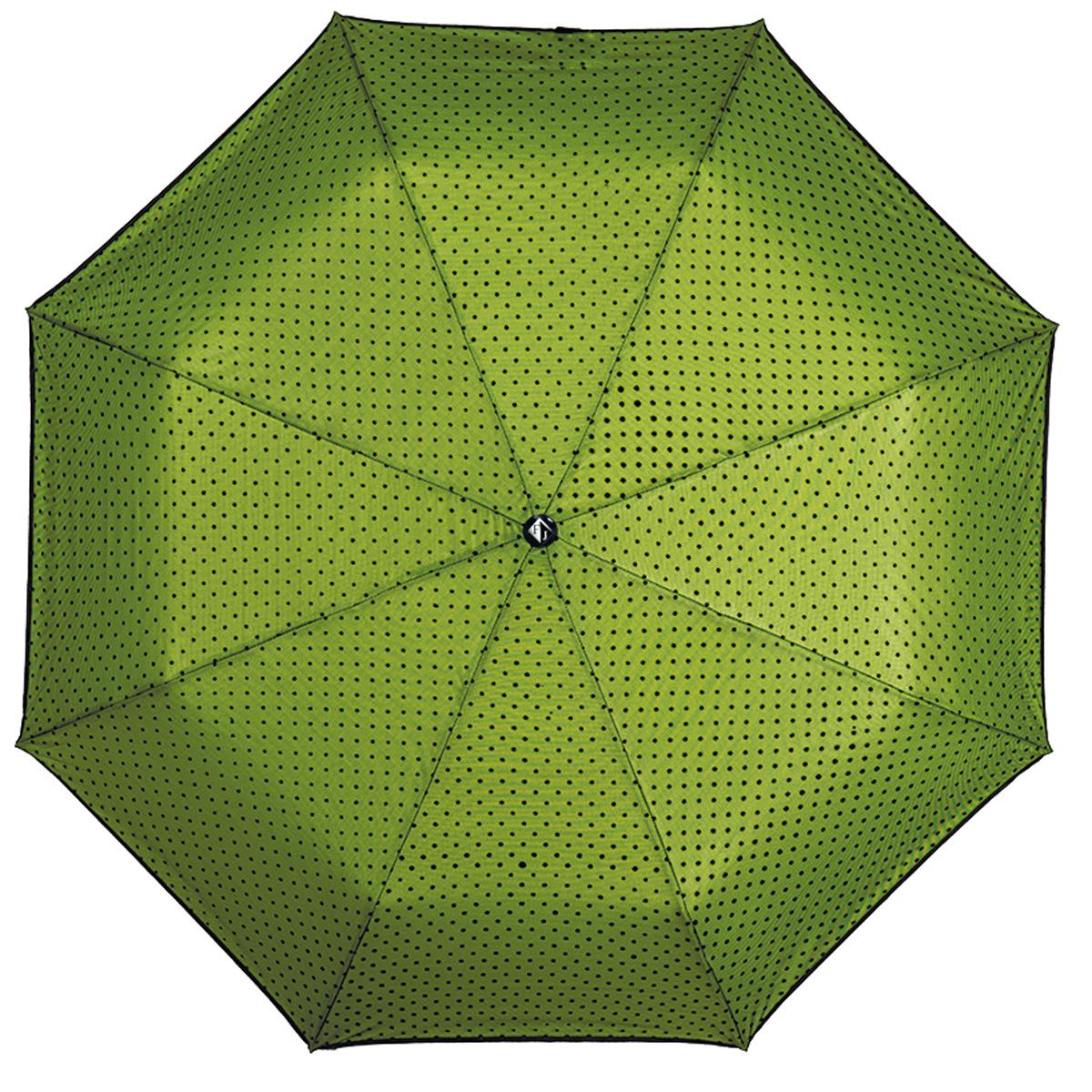 Зонт женский Flioraj В тени вуали, автомат, 3 сложения, зеленый. 22002 FJ22002 FJЭлегантный автоматический зонт Flioraj В тени вуали в 3 сложения отлично подойдет для ненастной погоды. Ветростойкий каркас зонта, изготовленный из анодированной стали, состоит из восьми спиц и прочного стержня. Купол зонта с тефлоновой пропиткой выполнен из полиэстера и оформлен сеткой с узором в мелкий горошек. Модель оснащена рукояткой из пластика. Зонт имеет полный автоматический механизм сложения: купол открывается и закрывается нажатием кнопки на рукоятке, стержень складывается вручную до характерного щелчка. Благодаря этому открыть и закрыть зонт можно одной рукой, что чрезвычайно удобно при входе в транспорт или помещение. Небольшой шнурок, расположенный на рукоятке, позволяет надеть изделие на руку при необходимости. Модель закрывается при помощи хлястика на кнопке. К зонту прилагается оригинальный чехол-сумка, закрывающийся при помощи петли на пуговицу. Такой зонт не только надежно защитит вас от дождя, но и станет стильным аксессуаром,...