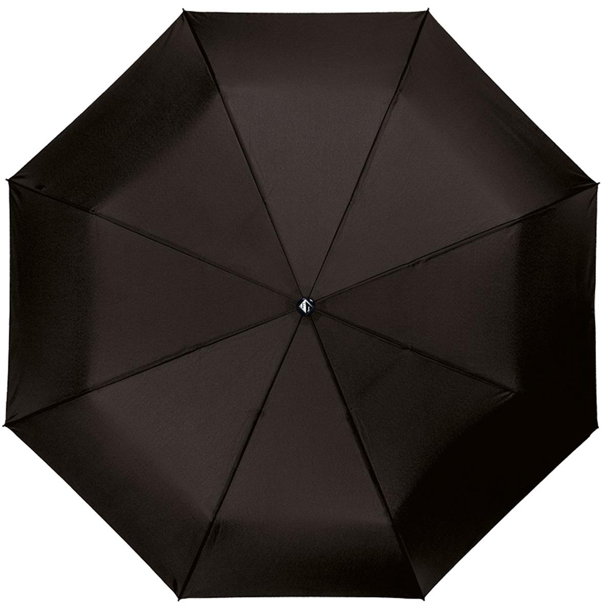 """Зонт мужской Flioraj Педант, автомат, 3 сложения, черный31002 FJИзысканный автоматический зонт Flioraj """"Педант"""" в 3 сложения отлично подойдет для ненастной погоды. Ветростойкий каркас зонта, изготовленный из анодированной стали, состоит из восьми спиц и прочного стержня. Купол зонта с тефлоновой пропиткой выполнен из полиэстера и исполнен в лаконичном стиле. Модель оснащена рукояткой из металла и натуральной кожи, оформленной декоративными внешними швами. Зонт имеет полный автоматический механизм сложения: купол открывается и закрывается нажатием кнопки на рукоятке, стержень складывается вручную до характерного щелчка. Благодаря этому открыть и закрыть зонт можно одной рукой, что чрезвычайно удобно при входе в транспорт или помещение. Модель закрывается при помощи хлястика на кнопку. К зонту прилагается чехол. Стильный зонт - незаменимая вещь в гардеробе каждого мужчины. Он не только надежно защитит от дождя, но и прекрасно дополнит ваш элегантный образ."""