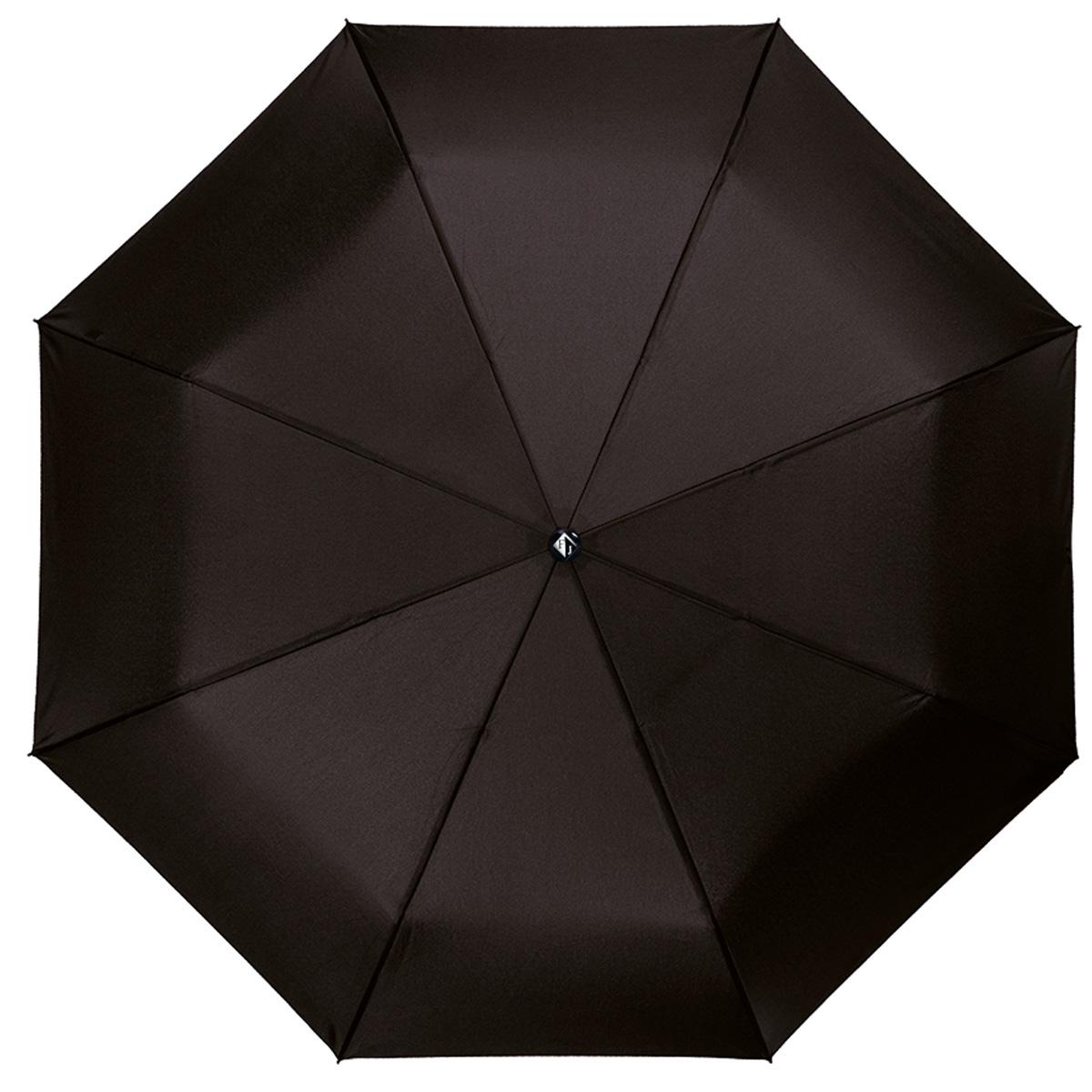"""Зонт мужской Flioraj Космос, автомат, 3 сложения, черный31003 FJИзысканный автоматический зонт Flioraj """"Космос"""" в 3 сложения отлично подойдет для ненастной погоды. """"Ветростойкий"""" каркас зонта, изготовленный из анодированной стали, состоит из восьми спиц и прочного стержня. Купол зонта с тефлоновой пропиткой выполнен из полиэстера и исполнен в лаконичном стиле. Модель оснащена рукояткой из пластика. Зонт имеет полный автоматический механизм сложения: купол открывается и закрывается нажатием кнопки на рукоятке, стержень складывается вручную до характерного щелчка. Благодаря этому открыть и закрыть зонт можно одной рукой, что чрезвычайно удобно при входе в транспорт или помещение. Небольшой шнурок, расположенный на рукоятке, позволяет надеть изделие на руку при необходимости. Модель закрывается при помощи хлястика на кнопку. К зонту прилагается чехол. Стильный зонт - незаменимая вещь в гардеробе каждого мужчины. Он не только надежно защитит от дождя, но и прекрасно дополнит ваш элегантный образ."""