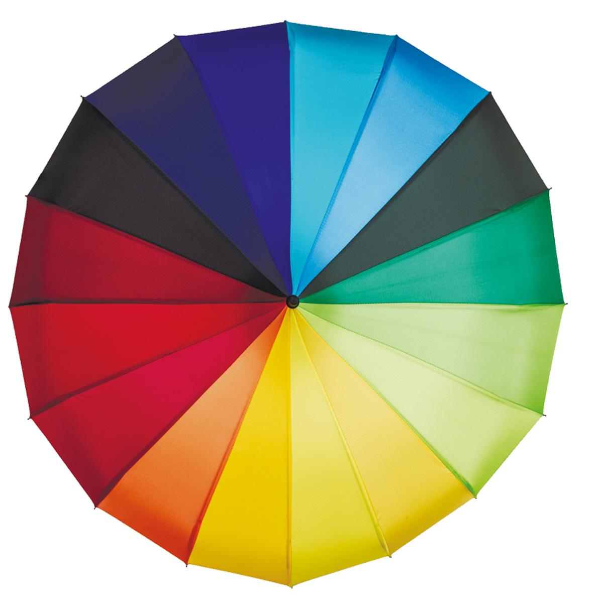"""Зонт-трость женский Flioraj Радуга, механический, цвет: мультиколор. 121200 FJ121200 FJЯркий механический зонт-трость Flioraj """"Радуга"""" в 3 сложения отлично подойдет для ненастной погоды. """"Ветростойкий"""" каркас зонта, изготовленный из анодированной стали, состоит из шестнадцати спиц и прочного стержня. Купол зонта с тефлоновой пропиткой выполнен из полиэстера в цветах радуги. Модель оснащена рукояткой из пластика. Зонт механического сложения: купол открывается и закрывается вручную до характерного щелчка. Модель закрывается при помощи хлястика на кнопку. Такой зонт не только надежно защитит вас от дождя, но и станет стильным аксессуаром, который идеально подчеркнет ваш неповторимый образ."""