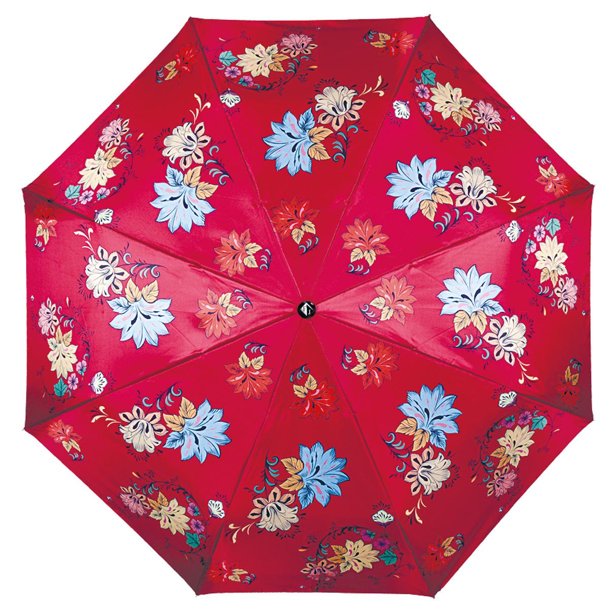 """Зонт женский Flioraj Русские мотивы, автомат, 3 сложения, красный190203 FJМодный автоматический зонт Flioraj Русские мотивы в 3 сложения отлично подойдет для ненастной погоды. """"Ветростойкий"""" каркас зонта, изготовленный из анодированной стали, состоит из восьми спиц и прочного стержня. Купол зонта с тефлоновой пропиткой выполнен из полиэстера и оформлен цветочным узором. Модель оснащена рукояткой из пластика. Зонт имеет полный автоматический механизм сложения: купол открывается и закрывается нажатием кнопки на рукоятке, стержень складывается вручную до характерного щелчка. Благодаря этому открыть и закрыть зонт можно одной рукой, что чрезвычайно удобно при входе в транспорт или помещение. Небольшой шнурок, расположенный на рукоятке, позволяет надеть изделие на руку при необходимости. Модель закрывается при помощи хлястика на кнопке. Такой зонт не только надежно защитит вас от дождя, но и станет стильным аксессуаром, который идеально подчеркнет ваш неповторимый образ."""