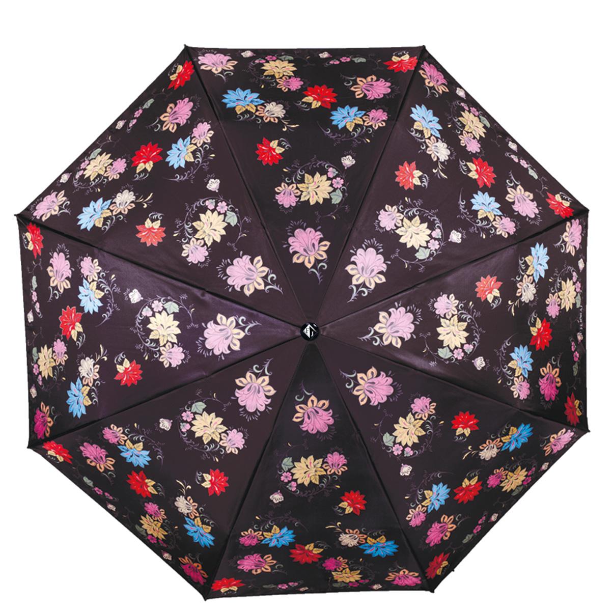 Зонт женский Flioraj Русские мотивы, автомат, 3 сложения, цвет: черный. 190204 FJ190204 FJПрелестный автоматический зонт Flioraj Русские мотивы в 3 сложения отлично подойдет для ненастной погоды. Ветростойкий каркас зонта, изготовленный из анодированной стали, состоит из восьми спиц и прочного стержня. Купол зонта с тефлоновой пропиткой выполнен из полиэстера и оформлен цветочным узором. Модель оснащена рукояткой из пластика. Зонт имеет полный автоматический механизм сложения: купол открывается и закрывается нажатием кнопки на рукоятке, стержень складывается вручную до характерного щелчка. Благодаря этому открыть и закрыть зонт можно одной рукой, что чрезвычайно удобно при входе в транспорт или помещение. Небольшой шнурок, расположенный на рукоятке, позволяет надеть изделие на руку при необходимости. Модель закрывается при помощи хлястика на кнопке. Такой зонт не только надежно защитит вас от дождя, но и станет стильным аксессуаром, который идеально подчеркнет ваш неповторимый образ.