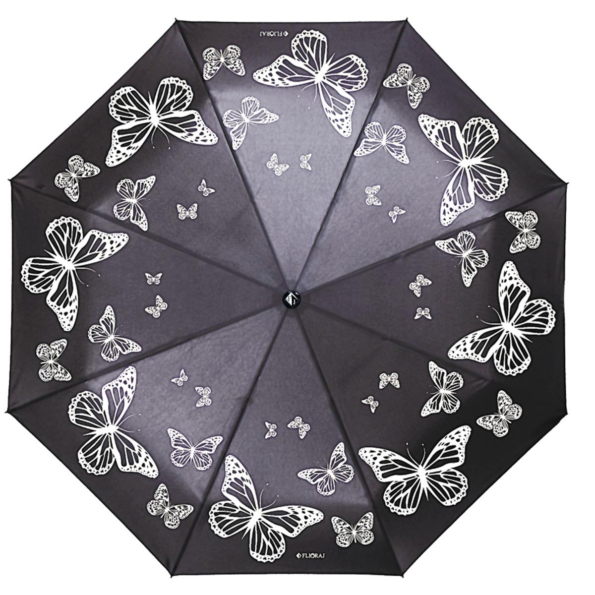 """Зонт женский Flioraj Под звуки вальса, автомат, 3 сложения, черный, белый190206 FJМодный автоматический зонт Flioraj """"Под звуки вальса"""" в 3 сложения отлично подойдет для ненастной погоды. """"Ветростойкий"""" каркас зонта, изготовленный из анодированной стали, состоит из восьми спиц и прочного стержня. Купол зонта с тефлоновой пропиткой выполнен из полиэстера и оформлен изображением бабочек. Модель оснащена рукояткой из пластика. Зонт имеет полный автоматический механизм сложения: купол открывается и закрывается нажатием кнопки на рукоятке, стержень складывается вручную до характерного щелчка. Благодаря этому открыть и закрыть зонт можно одной рукой, что чрезвычайно удобно при входе в транспорт или помещение. Небольшой шнурок, расположенный на рукоятке, позволяет надеть изделие на руку при необходимости. Модель закрывается при помощи хлястика на кнопке. Такой зонт не только надежно защитит вас от дождя, но и станет стильным аксессуаром, который идеально подчеркнет ваш неповторимый образ."""