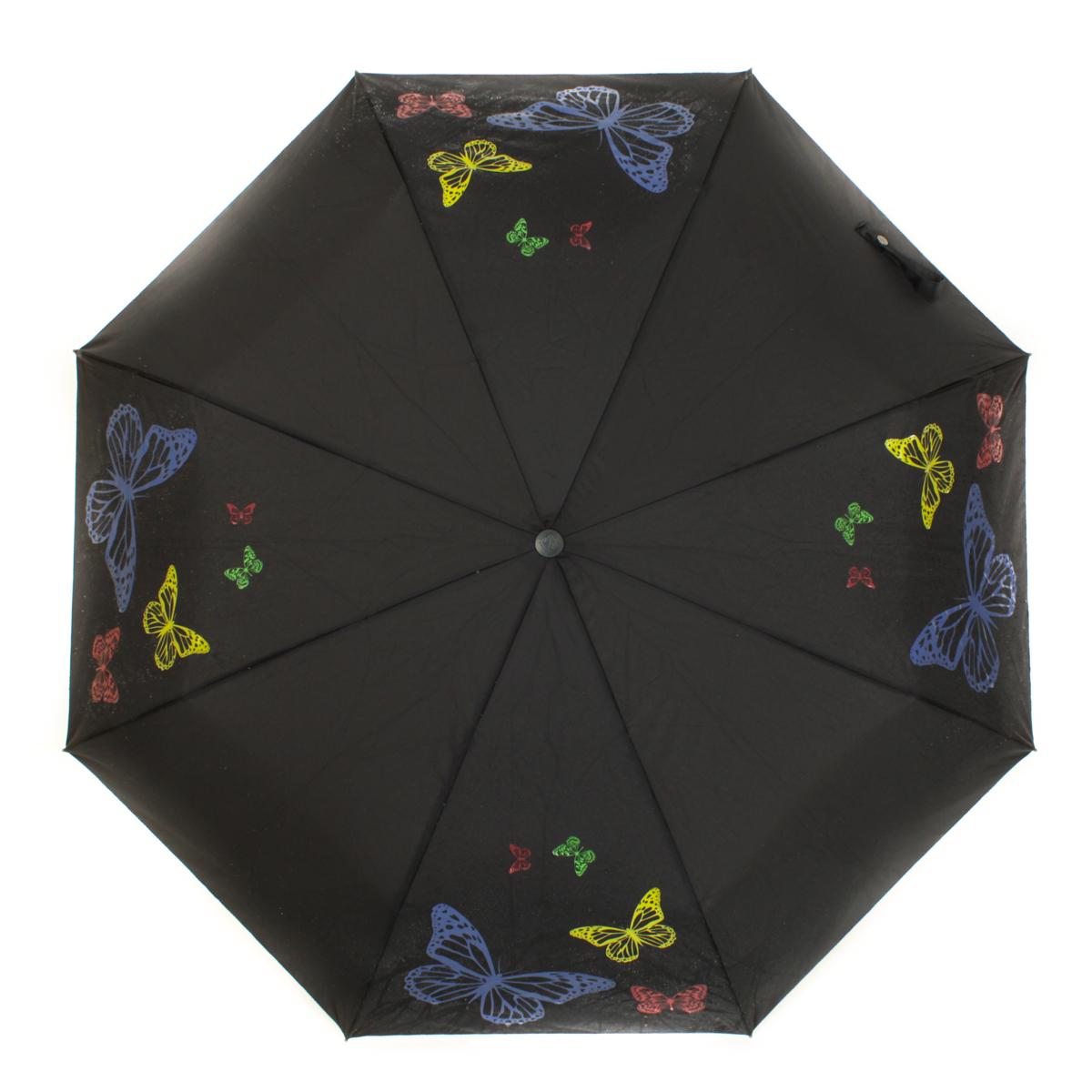 """Зонт женский Flioraj Тайные знаки, автомат, 3 сложения, черный, белый210202 FJМодный автоматический зонт Flioraj """"Тайные знаки"""" в 3 сложения отлично подойдет для ненастной погоды. """"Ветростойкий"""" каркас зонта, изготовленный из анодированной стали, состоит из восьми спиц и прочного стержня. Купол зонта с тефлоновой пропиткой выполнен из полиэстера и оформлен изображением бабочек. Модель оснащена рукояткой из пластика. Зонт имеет полный автоматический механизм сложения: купол открывается и закрывается нажатием кнопки на рукоятке, стержень складывается вручную до характерного щелчка. Благодаря этому открыть и закрыть зонт можно одной рукой, что чрезвычайно удобно при входе в транспорт или помещение. Небольшой шнурок, расположенный на рукоятке, позволяет надеть изделие на руку при необходимости. Модель закрывается при помощи хлястика на кнопке. Такой зонт не только надежно защитит вас от дождя, но и станет стильным аксессуаром, который идеально подчеркнет ваш неповторимый образ."""