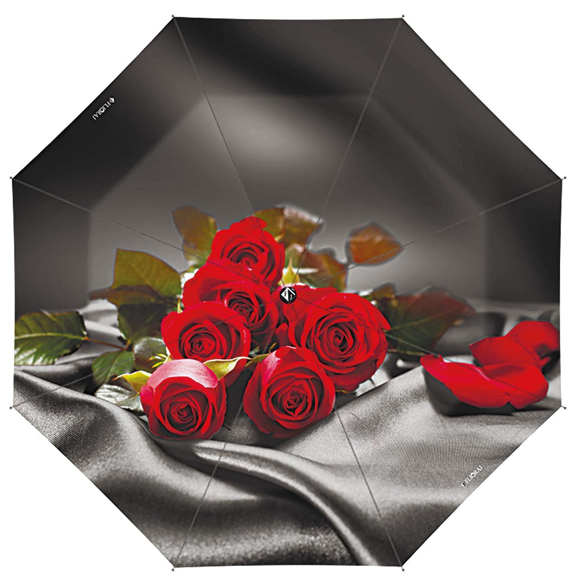 """Зонт женский Flioraj Цветочная рапсодия, автомат, 3 сложения, черный, красный231203 FJОчаровательный автоматический зонт Flioraj Цветочная рапсодия в 3 сложения отлично подойдет для ненастной погоды. """"Ветростойкий"""" каркас зонта, изготовленный из анодированной стали, состоит из восьми спиц и прочного стержня. Купол зонта с тефлоновой пропиткой выполнен из полиэстера и оформлен крупными цветами (розами). Модель оснащена рукояткой из пластика. Зонт имеет полный автоматический механизм сложения: купол открывается и закрывается нажатием кнопки на рукоятке, стержень складывается вручную до характерного щелчка. Благодаря этому открыть и закрыть зонт можно одной рукой, что чрезвычайно удобно при входе в транспорт или помещение. Небольшой шнурок, расположенный на рукоятке, позволяет надеть изделие на руку при необходимости. Модель закрывается при помощи хлястика на кнопке. Такой зонт не только надежно защитит вас от дождя, но и станет стильным аксессуаром, который идеально подчеркнет ваш неповторимый образ."""