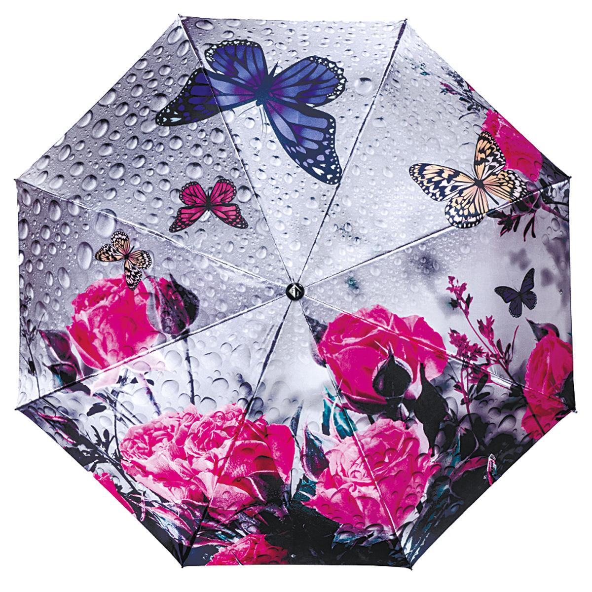 """Зонт женский Flioraj Пробуждение, автомат, 3 сложения, серый, розовый231205 FJПрелестный автоматический зонт Flioraj Пробуждение в 3 сложения отлично подойдет для ненастной погоды. """"Ветростойкий"""" каркас зонта, изготовленный из анодированной стали, состоит из восьми спиц и прочного стержня. Купол зонта с тефлоновой пропиткой выполнен из полиэстера и оформлен красочным изображением цветов и бабочек. Модель оснащена рукояткой из пластика. Зонт имеет полный автоматический механизм сложения: купол открывается и закрывается нажатием кнопки на рукоятке, стержень складывается вручную до характерного щелчка. Благодаря этому открыть и закрыть зонт можно одной рукой, что чрезвычайно удобно при входе в транспорт или помещение. Небольшой шнурок, расположенный на рукоятке, позволяет надеть изделие на руку при необходимости. Модель закрывается при помощи хлястика на кнопке. Такой зонт не только надежно защитит вас от дождя, но и станет стильным аксессуаром, который идеально подчеркнет ваш неповторимый образ."""