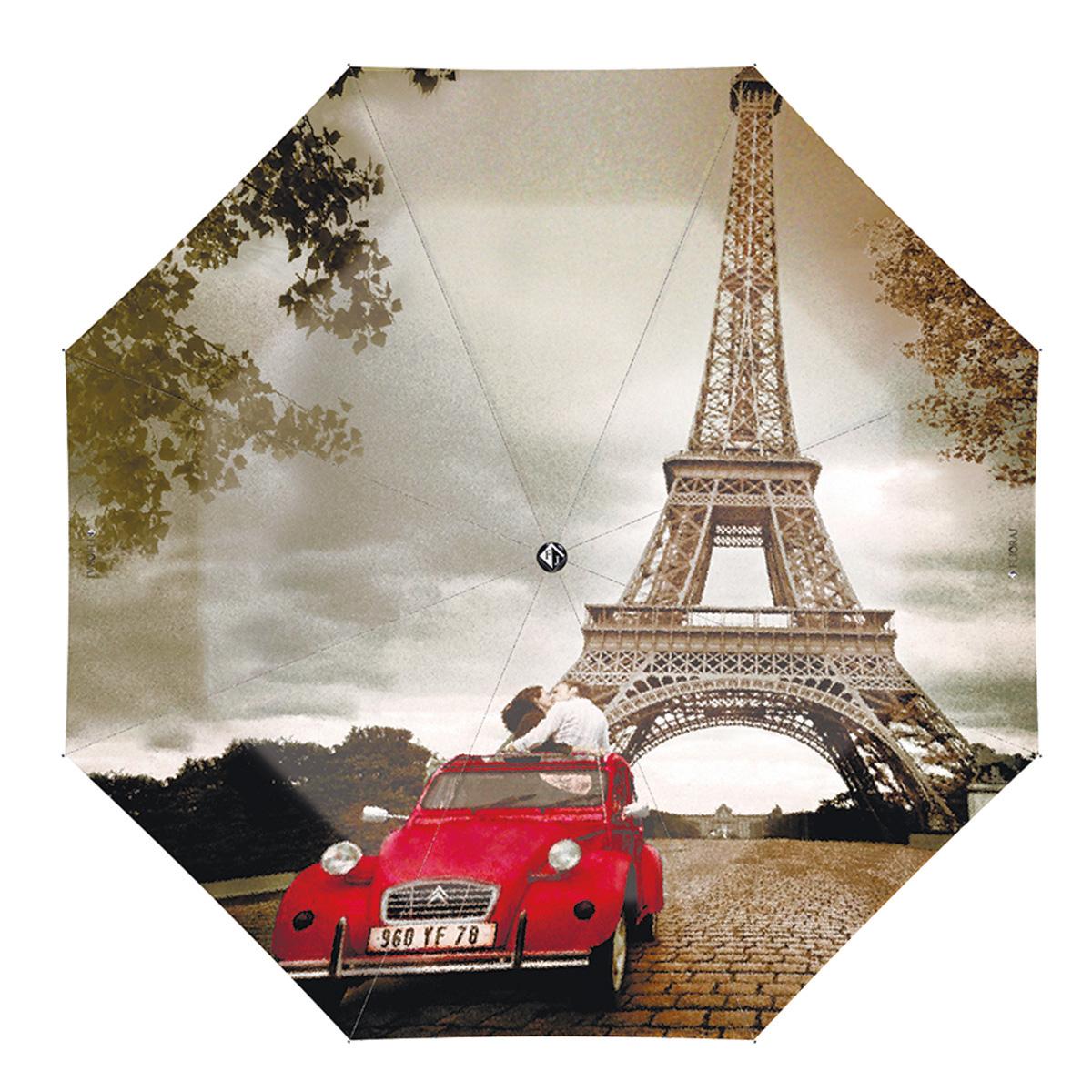 """Зонт женский Flioraj Bonjour, Paris!, автомат, 3 сложения, розово-зеленый, коричневый, красный231207 FJМодный автоматический зонт Flioraj """"Bonjour, Paris!"""" в 3 сложения отлично подойдет для ненастной погоды. """"Ветростойкий"""" каркас зонта, изготовленный из анодированной стали, состоит из восьми спиц и прочного стержня. Купол зонта с тефлоновой пропиткой выполнен из полиэстера и оформлен изображением влюбленной пары на фоне Эйфелевой башни. Модель оснащена рукояткой из пластика. Зонт имеет полный автоматический механизм сложения: купол открывается и закрывается нажатием кнопки на рукоятке, стержень складывается вручную до характерного щелчка. Благодаря этому открыть и закрыть зонт можно одной рукой, что чрезвычайно удобно при входе в транспорт или помещение. Небольшой шнурок, расположенный на рукоятке, позволяет надеть изделие на руку при необходимости. Модель закрывается при помощи хлястика на кнопке. Такой зонт не только надежно защитит вас от дождя, но и станет стильным аксессуаром, который идеально подчеркнет ваш неповторимый образ."""