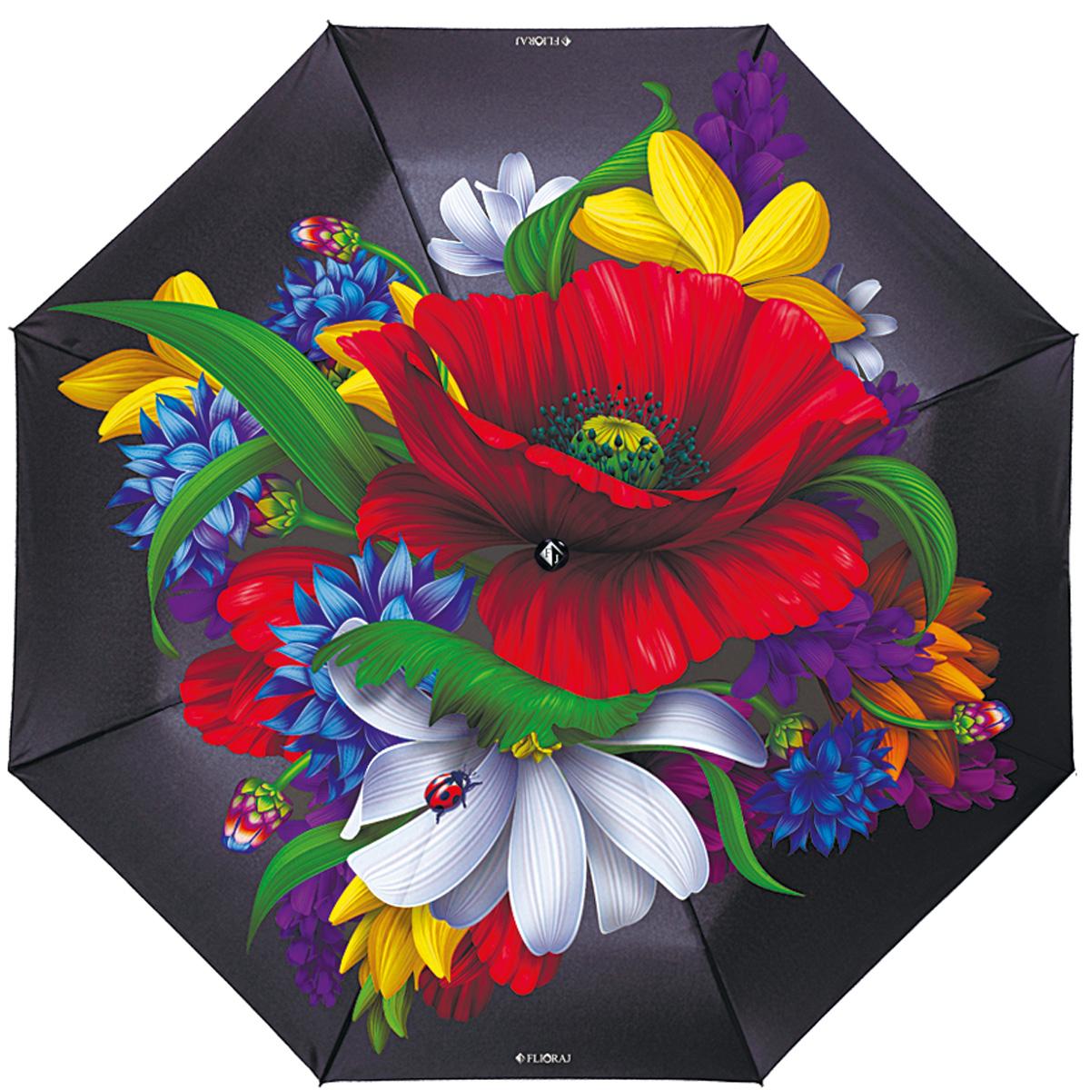 """Зонт женский Flioraj Русские мотивы, автомат, 3 сложения, черный231209 FJПрелестный автоматический зонт Flioraj Русские мотивы в 3 сложения отлично подойдет для ненастной погоды. """"Ветростойкий"""" каркас зонта, изготовленный из анодированной стали, состоит из восьми спиц и прочного стержня. Купол зонта с тефлоновой пропиткой выполнен из полиэстера и оформлен крупными цветами. Модель оснащена рукояткой из пластика. Зонт имеет полный автоматический механизм сложения: купол открывается и закрывается нажатием кнопки на рукоятке, стержень складывается вручную до характерного щелчка. Благодаря этому открыть и закрыть зонт можно одной рукой, что чрезвычайно удобно при входе в транспорт или помещение. Небольшой шнурок, расположенный на рукоятке, позволяет надеть изделие на руку при необходимости. Модель закрывается при помощи хлястика на кнопке. Такой зонт не только надежно защитит вас от дождя, но и станет стильным аксессуаром, который идеально подчеркнет ваш неповторимый образ."""