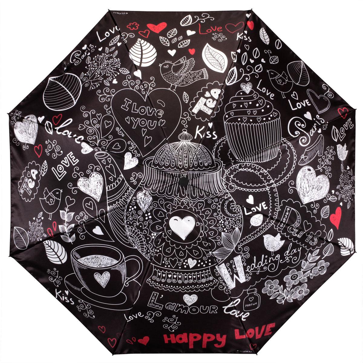 Зонт женский Flioraj Happy Love, автомат, 3 сложения. 013-045FJ013-045FJСтильный автоматический зонт Flioraj Happy Love в 3 сложения даже в ненастную погоду позволит вам оставаться стильной и элегантной. Каркас зонта из анодированной стали состоит из восьми карбоновых спиц, оснащен удобной прорезиненной рукояткой. Зонт имеет полный автоматический механизм сложения: купол открывается и закрывается нажатием кнопки на рукоятке, стержень складывается вручную до характерного щелчка, благодаря чему открыть и закрыть зонт можно одной рукой, что чрезвычайно удобно при входе в транспорт или помещение. Купол зонта выполнен из прочного сатина черного цвета и оформлен надписями Happy Love и орнаментом. На рукоятке для удобства есть небольшой шнурок-резинка, позволяющий надеть зонт на руку тогда, когда это будет необходимо. К зонту прилагается чехол.