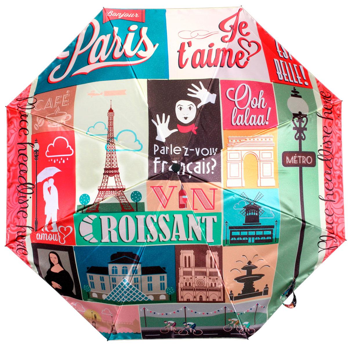 """Зонт женский Flioraj """"Париж"""", автомат, 3 сложения. 013-040FJ"""