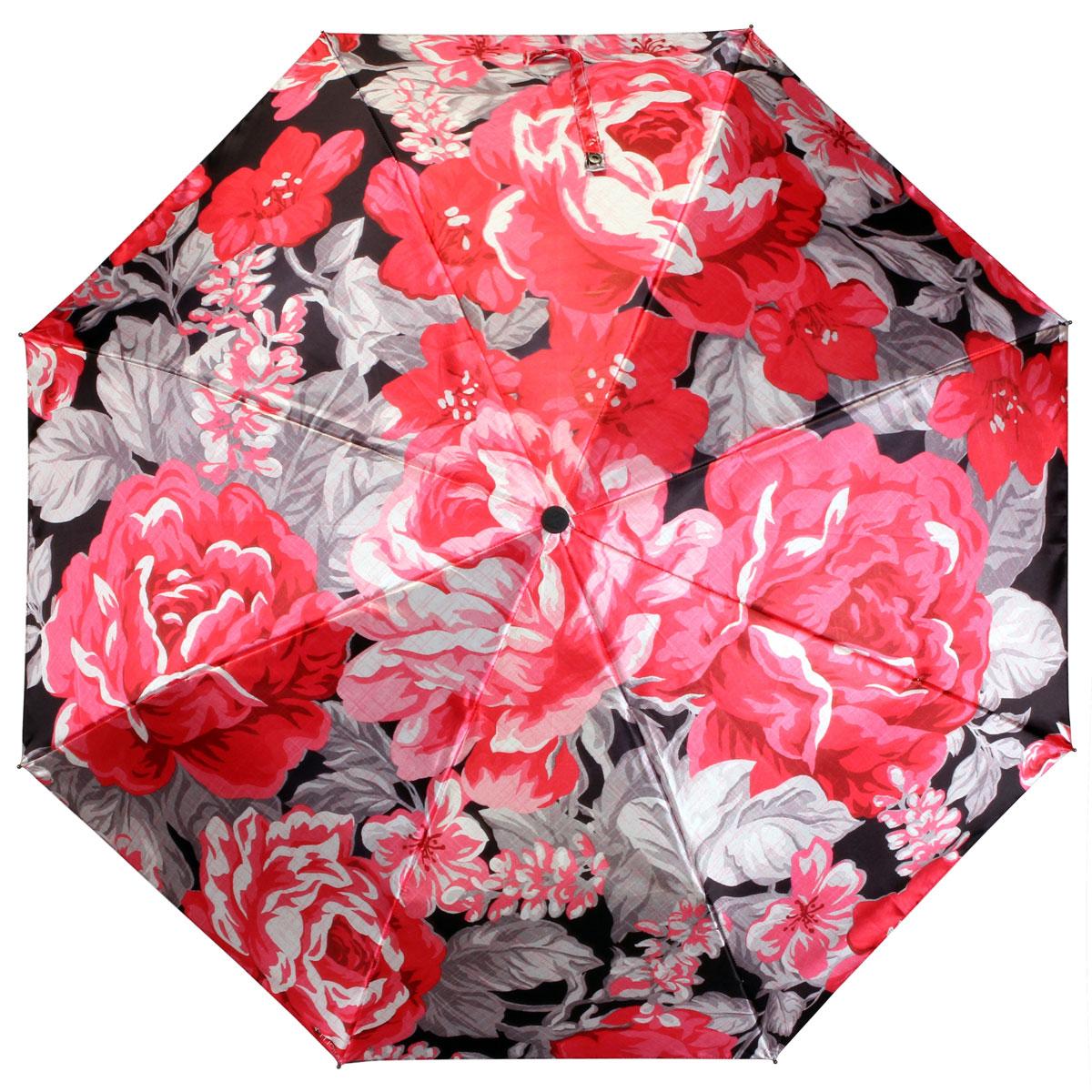 """Зонт женский Flioraj """"Красные цветы"""", автомат, 3 сложения. 013-037FJ"""