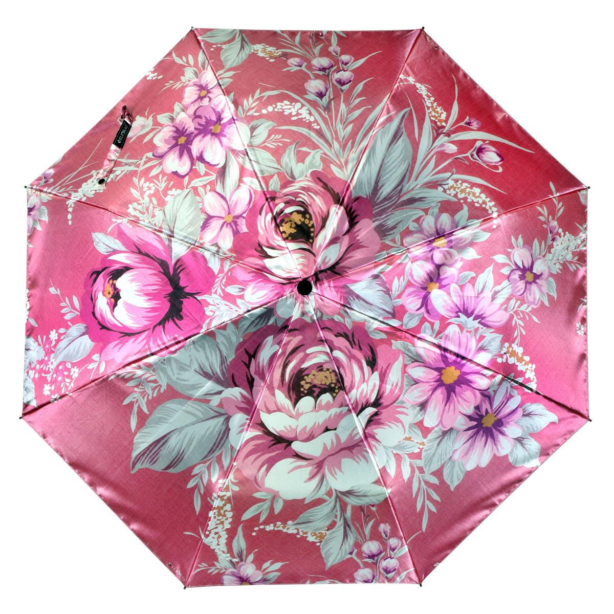 Зонт женский Flioraj Розы, автомат, 3 сложения. 013-036FJ013-036FJСтильный автоматический зонт Flioraj Розы в 3 сложения даже в ненастную погоду позволит вам оставаться стильной и элегантной. Каркас зонта из анодированной стали состоит из восьми карбоновых спиц, оснащен удобной прорезиненной рукояткой. Зонт имеет полный автоматический механизм сложения: купол открывается и закрывается нажатием кнопки на рукоятке, стержень складывается вручную до характерного щелчка, благодаря чему открыть и закрыть зонт можно одной рукой, что чрезвычайно удобно при входе в транспорт или помещение. Купол зонта выполнен из прочного сатина черного цвета и оформлен изображением розовых роз. На рукоятке для удобства есть небольшой шнурок-резинка, позволяющий надеть зонт на руку тогда, когда это будет необходимо. К зонту прилагается чехол.