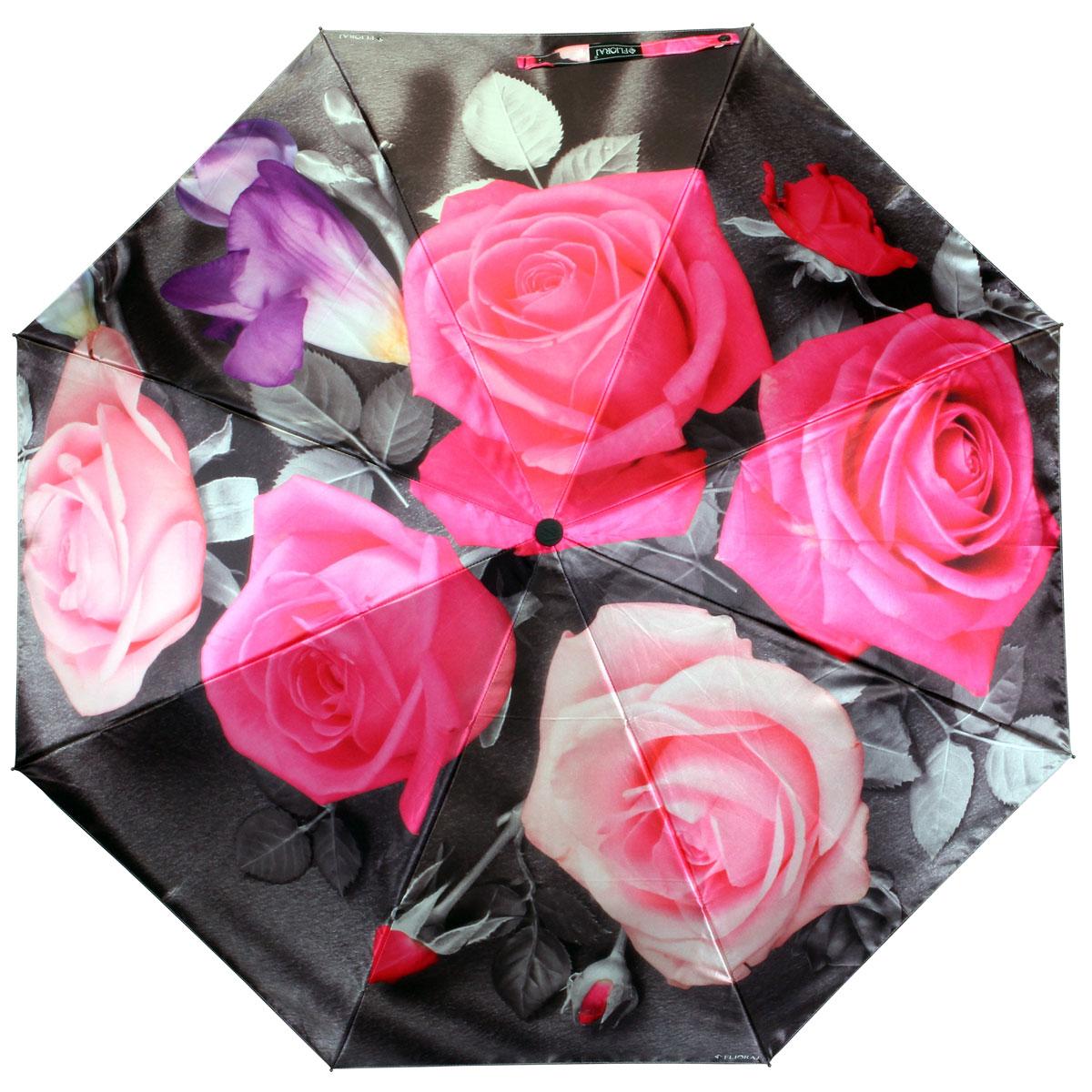 Зонт женский Flioraj Розы, автомат, 3 сложения. 013-032FJ013-032FJСтильный автоматический зонт Flioraj Розы в 3 сложения даже в ненастную погоду позволит вам оставаться стильной и элегантной. Каркас зонта из анодированной стали состоит из восьми карбоновых спиц, оснащен удобной прорезиненной рукояткой. Зонт имеет полный автоматический механизм сложения: купол открывается и закрывается нажатием кнопки на рукоятке, стержень складывается вручную до характерного щелчка, благодаря чему открыть и закрыть зонт можно одной рукой, что чрезвычайно удобно при входе в транспорт или помещение. Купол зонта выполнен из прочного сатина черного цвета и оформлен изображением розовых роз. На рукоятке для удобства есть небольшой шнурок-резинка, позволяющий надеть зонт на руку тогда, когда это будет необходимо. К зонту прилагается чехол.